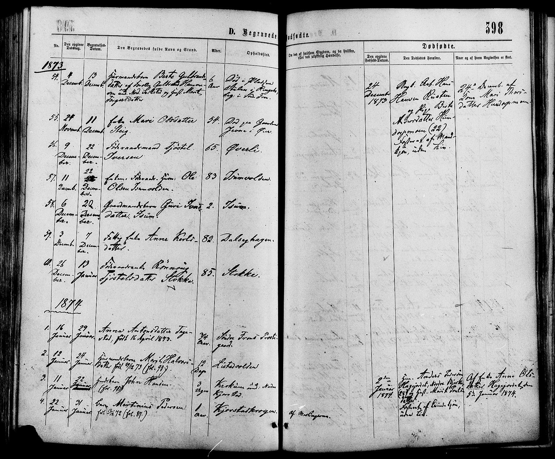 SAH, Sør-Fron prestekontor, H/Ha/Haa/L0002: Ministerialbok nr. 2, 1864-1880, s. 398