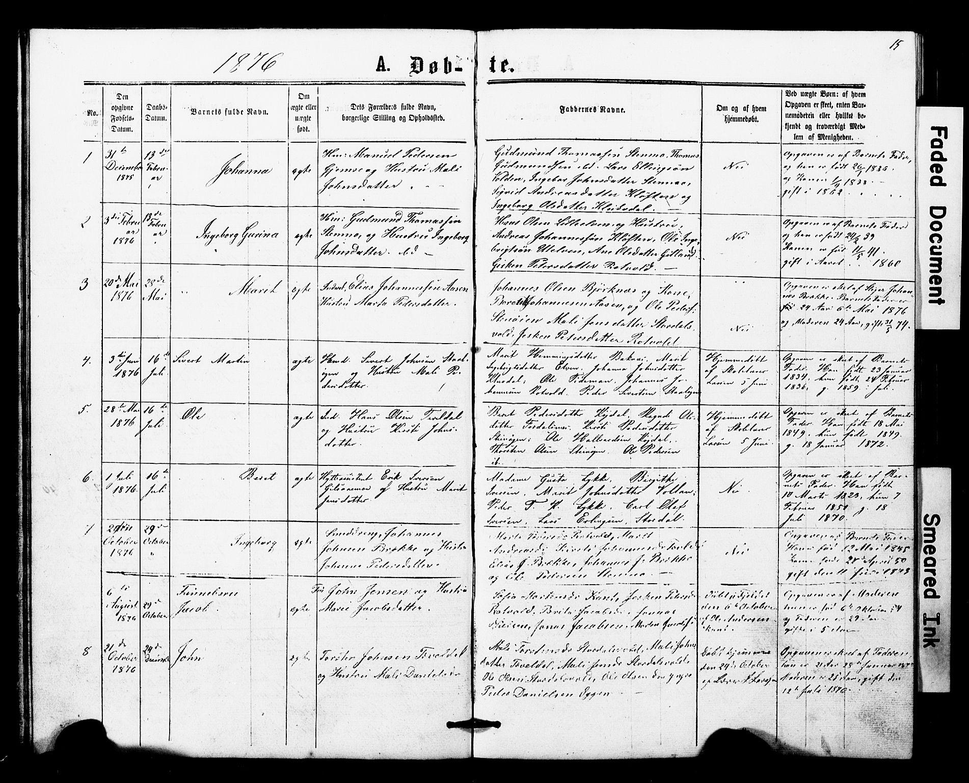 SAT, Ministerialprotokoller, klokkerbøker og fødselsregistre - Nord-Trøndelag, 707/L0052: Klokkerbok nr. 707C01, 1864-1897, s. 15