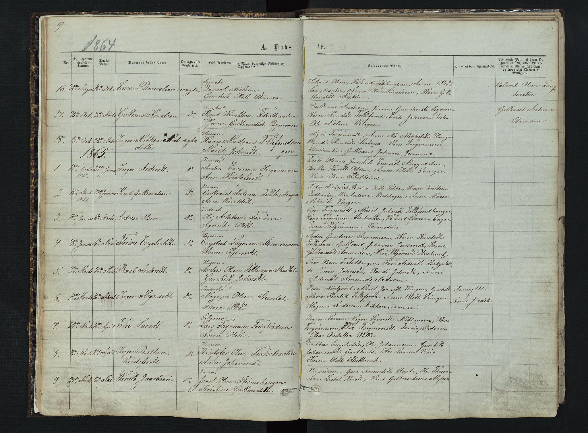 SAH, Sør-Aurdal prestekontor, Klokkerbok nr. 3, 1862-1893, s. 9