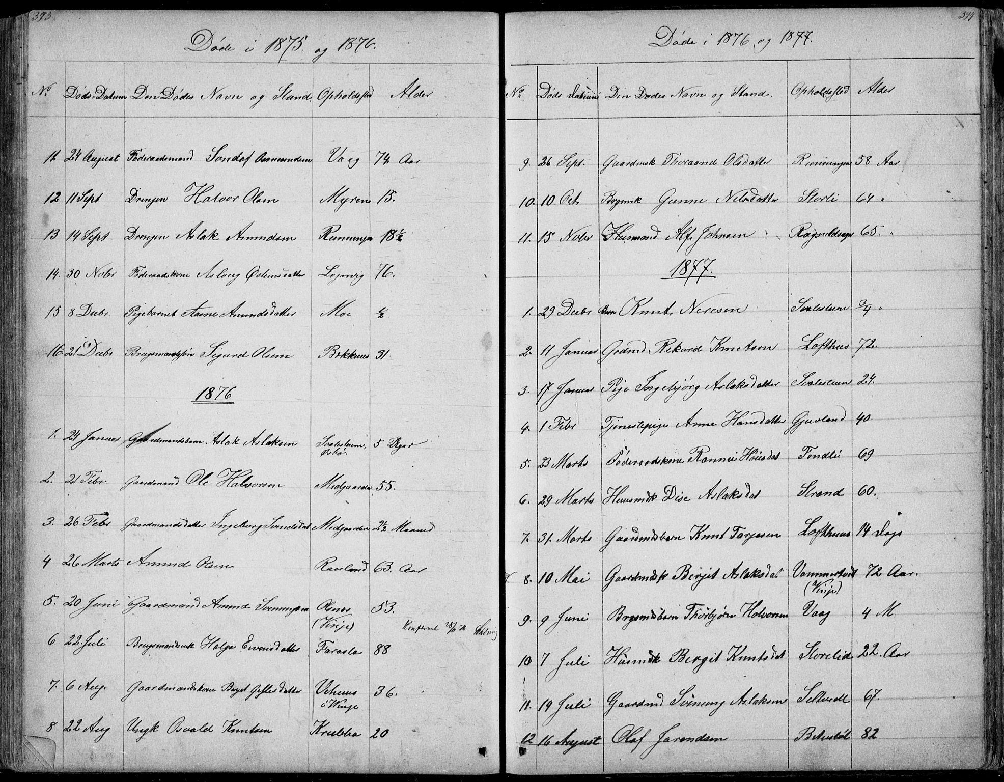 SAKO, Rauland kirkebøker, G/Ga/L0002: Klokkerbok nr. I 2, 1849-1935, s. 393-394