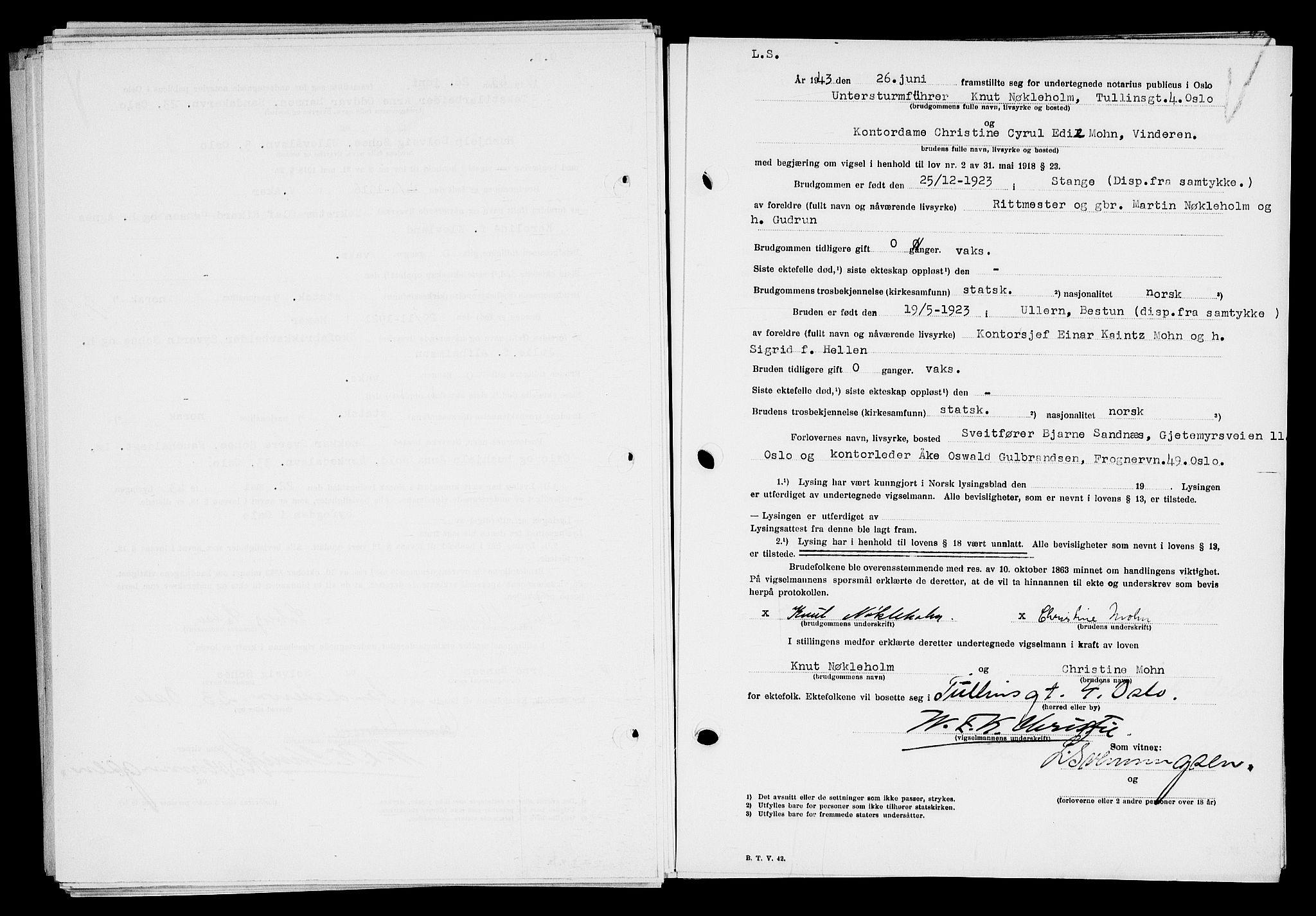 SAO, Oslo byfogd avd. I, L/Lb/Lbb/L0045: Notarialprotokoll, rekke II: Vigsler, 1943
