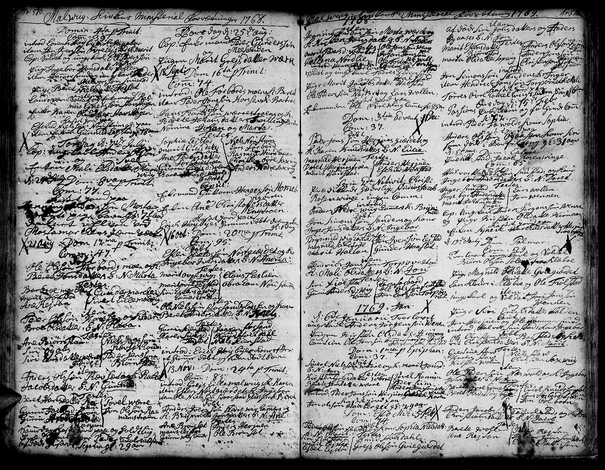 SAT, Ministerialprotokoller, klokkerbøker og fødselsregistre - Sør-Trøndelag, 606/L0277: Ministerialbok nr. 606A01 /3, 1727-1780, s. 510-511