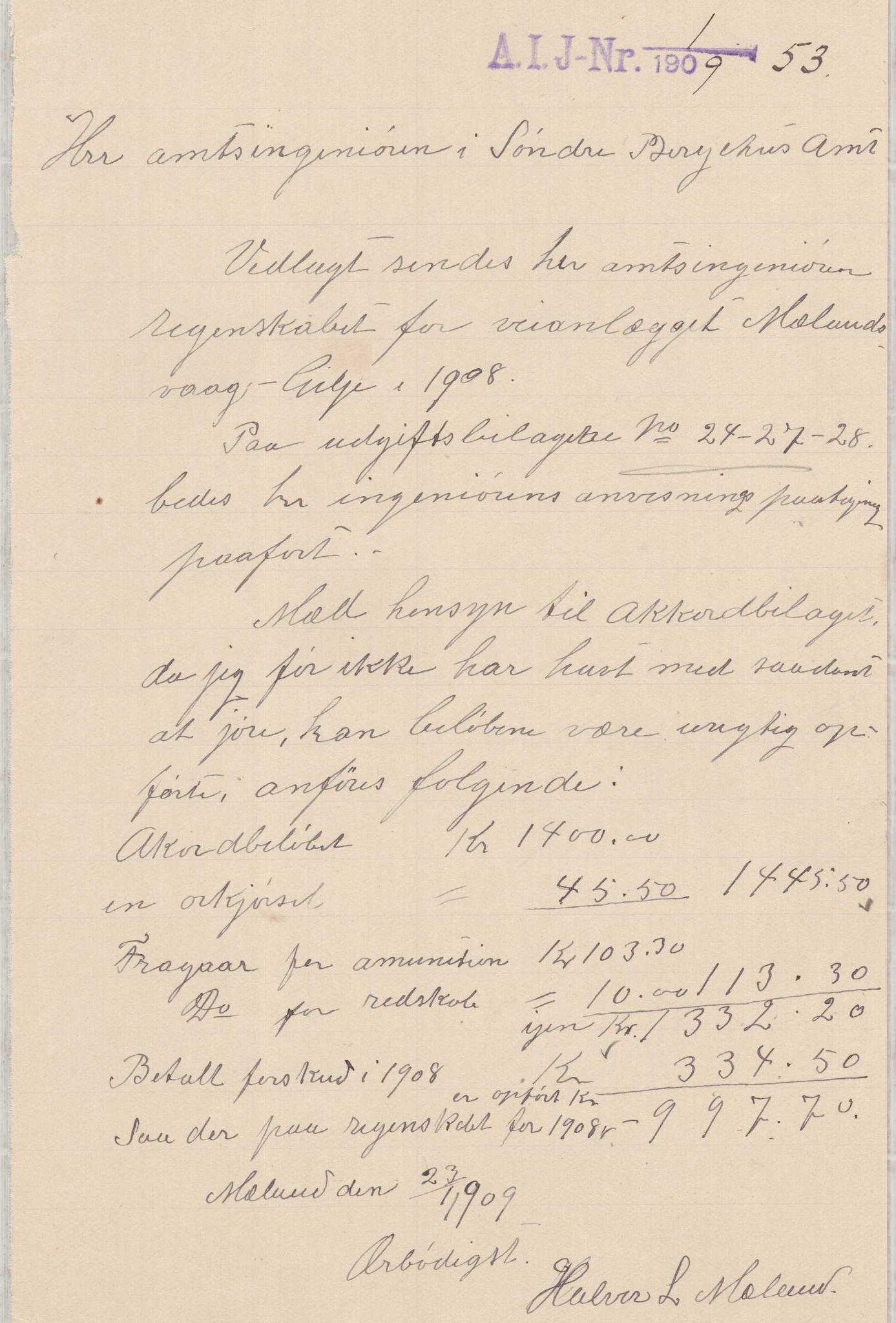 IKAH, Finnaas kommune. Formannskapet, E/Ea/L0001: Rekneskap for veganlegg, 1907-1910, s. 20