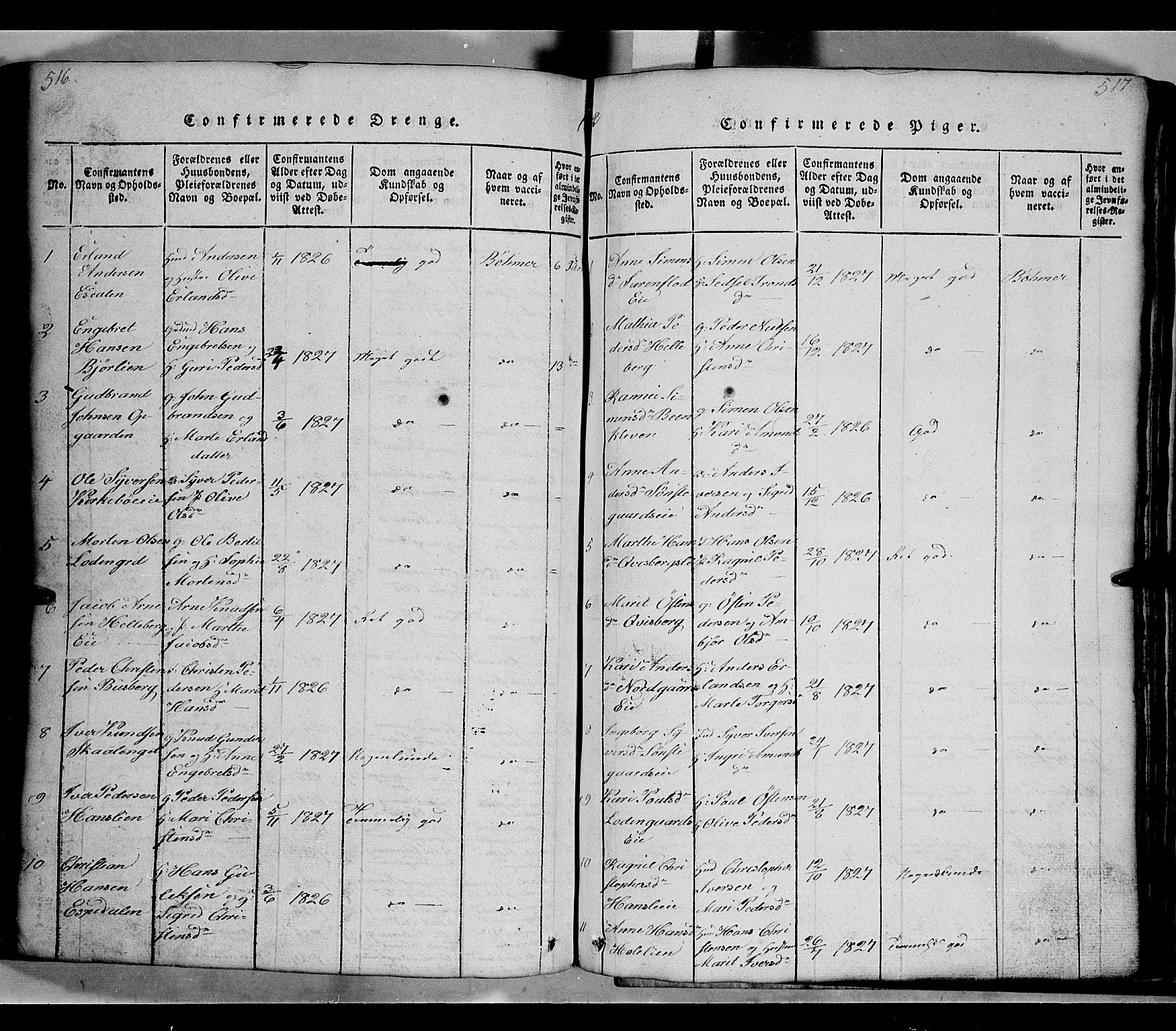 SAH, Gausdal prestekontor, Klokkerbok nr. 2, 1818-1874, s. 516-517