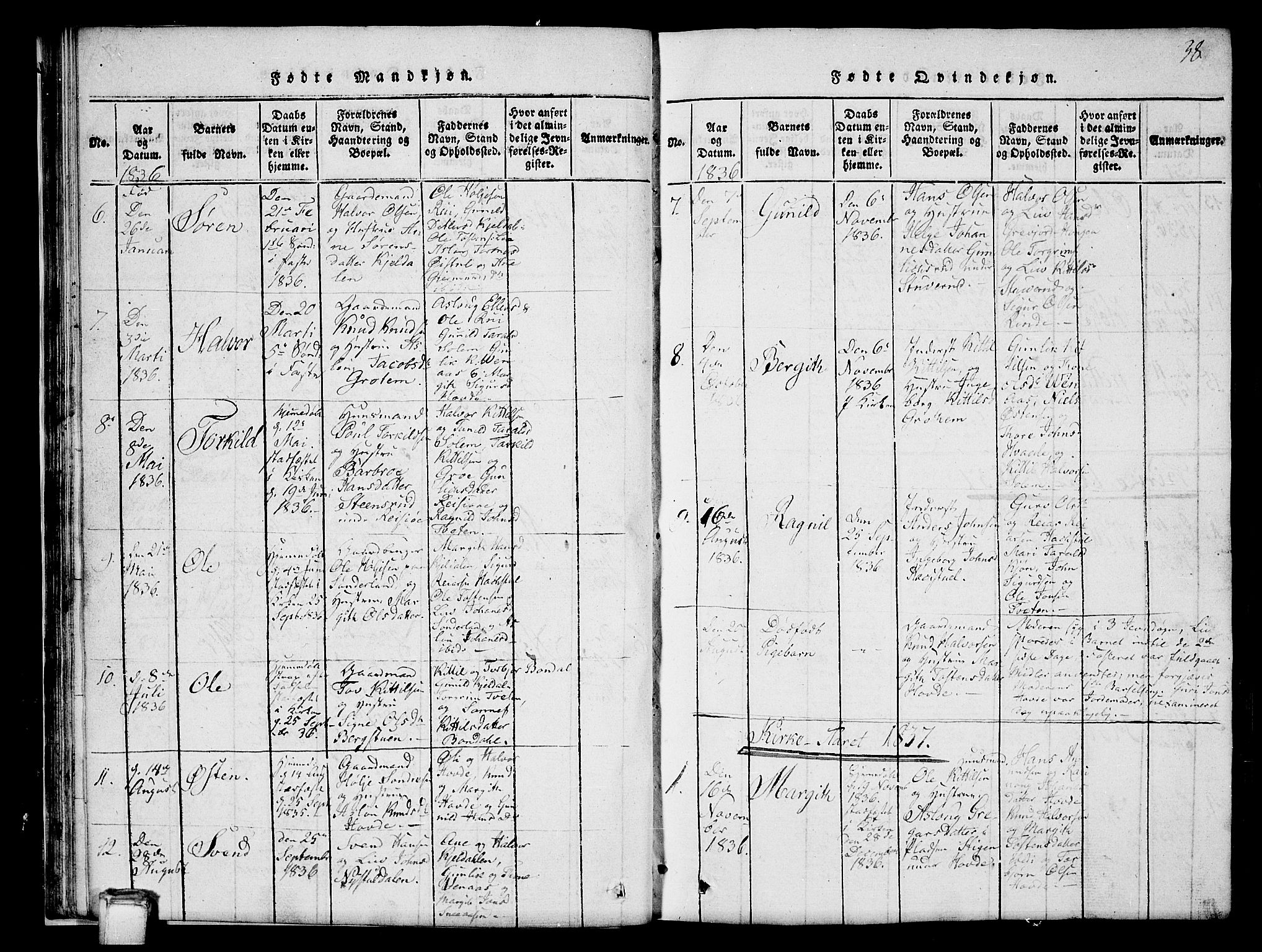 SAKO, Hjartdal kirkebøker, G/Gc/L0001: Klokkerbok nr. III 1, 1815-1842, s. 38