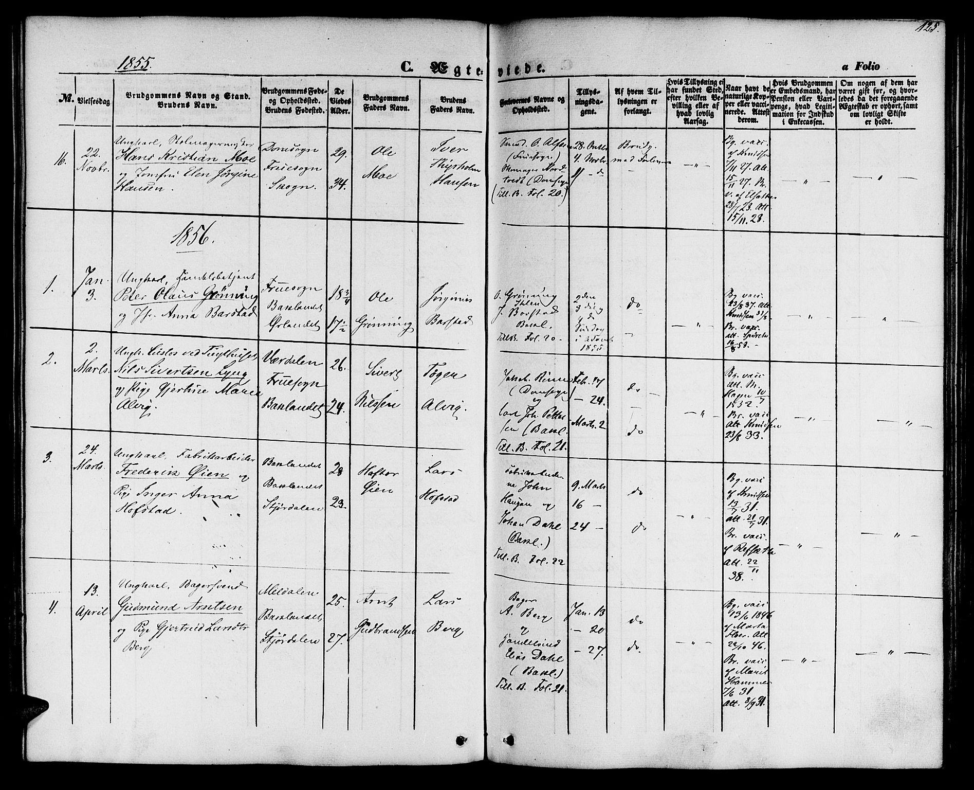 SAT, Ministerialprotokoller, klokkerbøker og fødselsregistre - Sør-Trøndelag, 604/L0184: Ministerialbok nr. 604A05, 1851-1860, s. 125