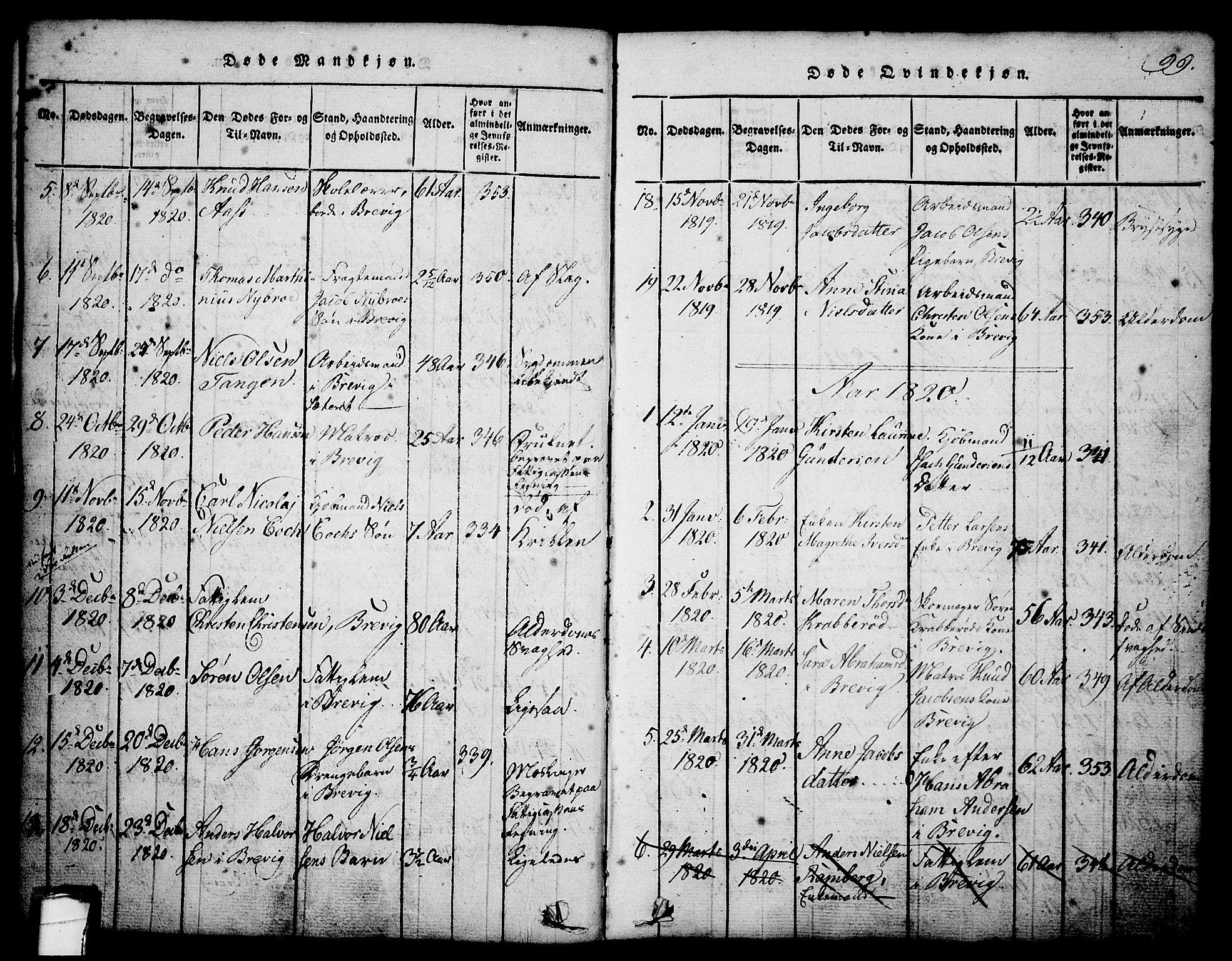 SAKO, Brevik kirkebøker, G/Ga/L0001: Klokkerbok nr. 1, 1814-1845, s. 99