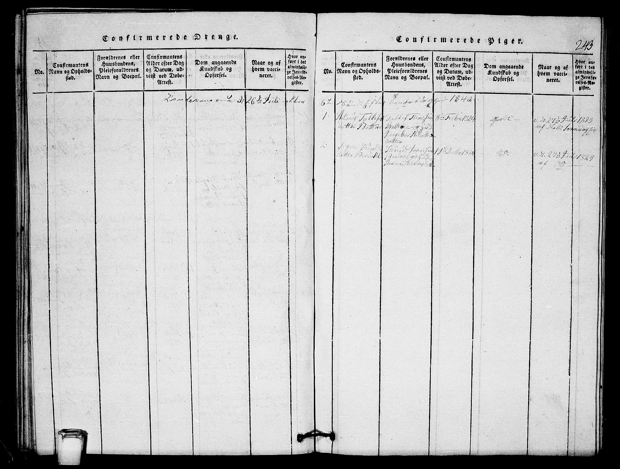 SAKO, Vinje kirkebøker, G/Gb/L0001: Klokkerbok nr. II 1, 1814-1843, s. 243