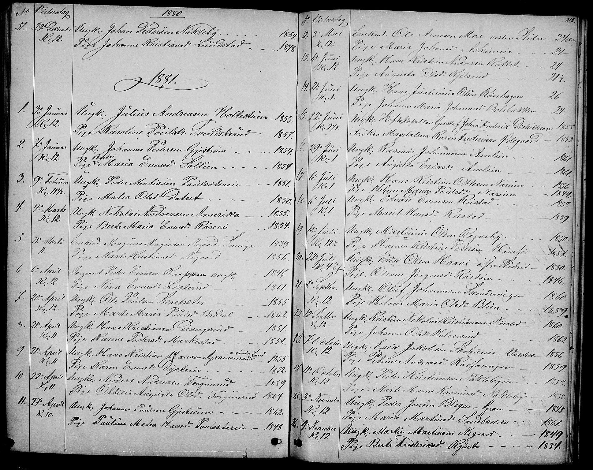 SAH, Vestre Toten prestekontor, H/Ha/Hab/L0006: Klokkerbok nr. 6, 1870-1887, s. 212