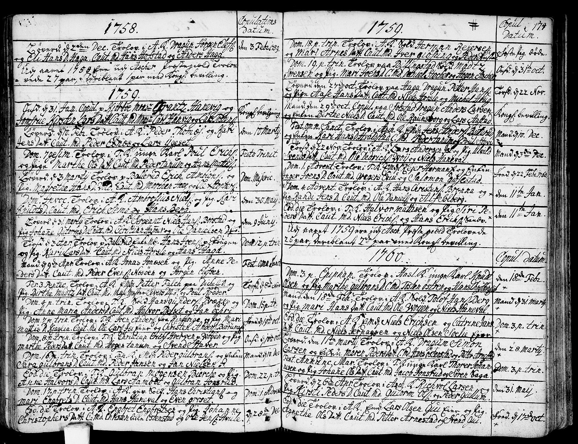 SAO, Asker prestekontor Kirkebøker, F/Fa/L0002: Ministerialbok nr. I 2, 1733-1766, s. 174