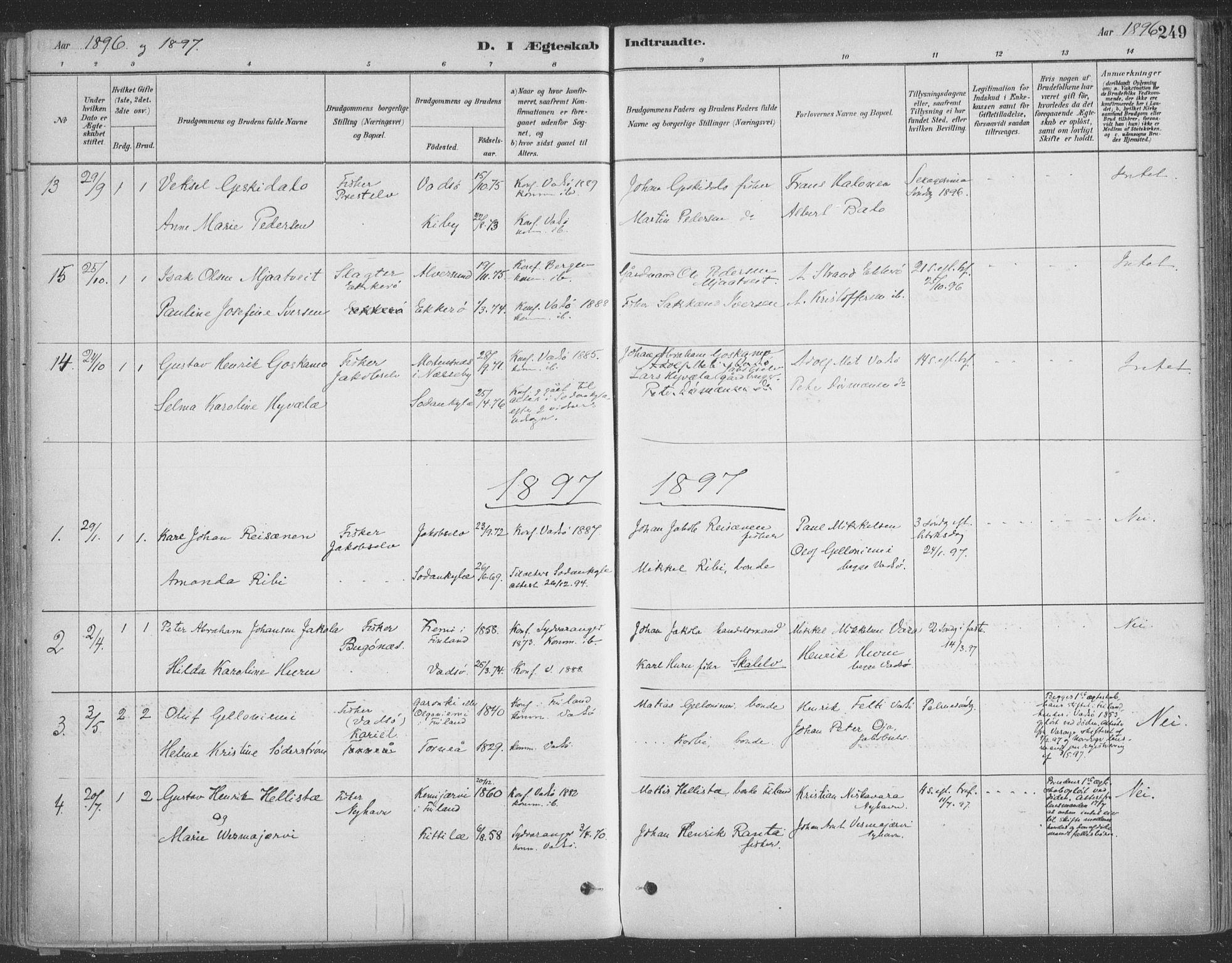 SATØ, Vadsø sokneprestkontor, H/Ha/L0009kirke: Ministerialbok nr. 9, 1881-1917, s. 249