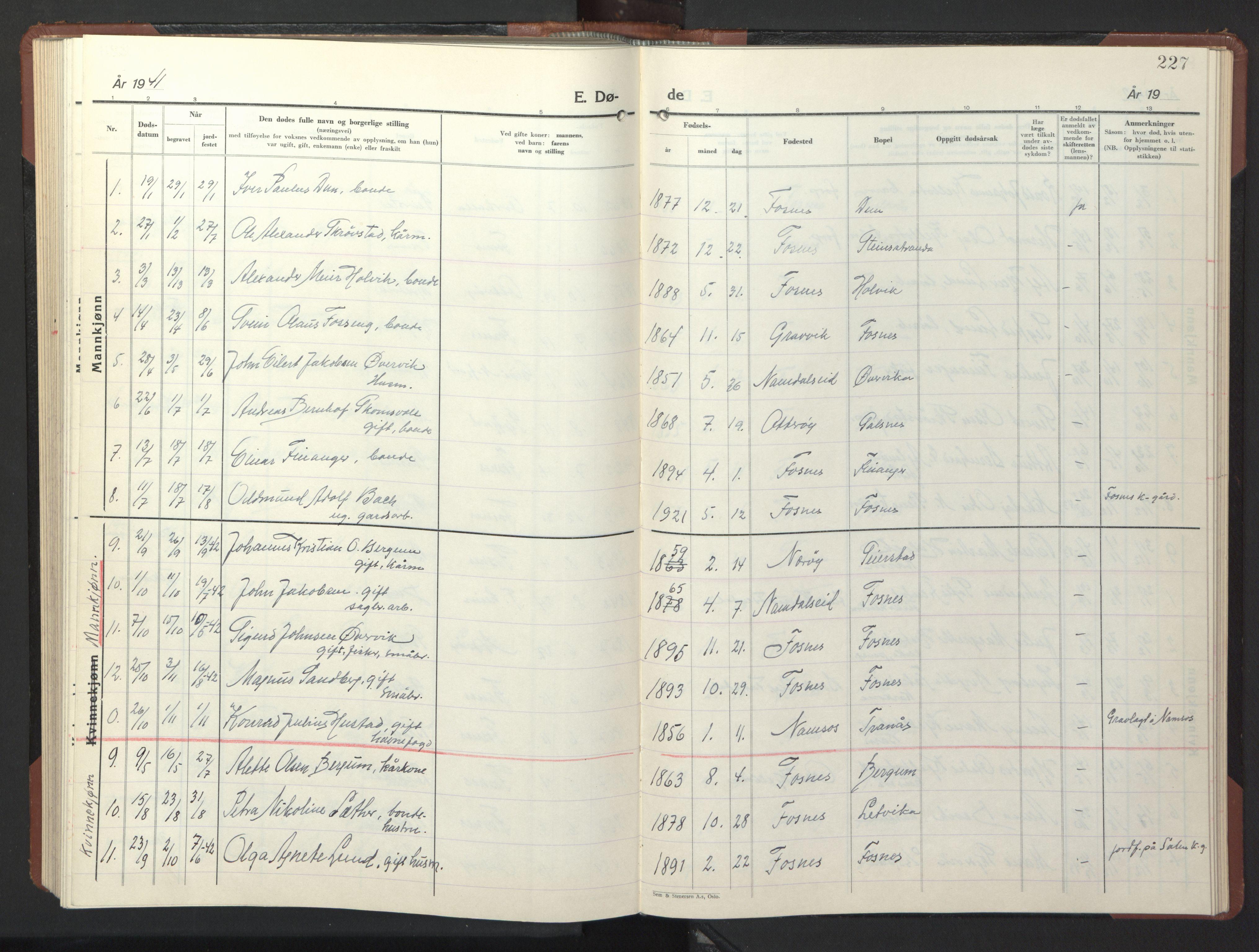 SAT, Ministerialprotokoller, klokkerbøker og fødselsregistre - Nord-Trøndelag, 773/L0625: Klokkerbok nr. 773C01, 1910-1952, s. 227