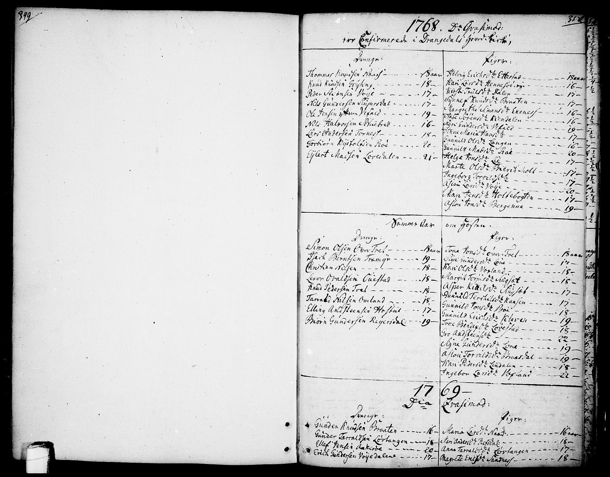 SAKO, Drangedal kirkebøker, F/Fa/L0003: Ministerialbok nr. 3, 1768-1814, s. 349-350