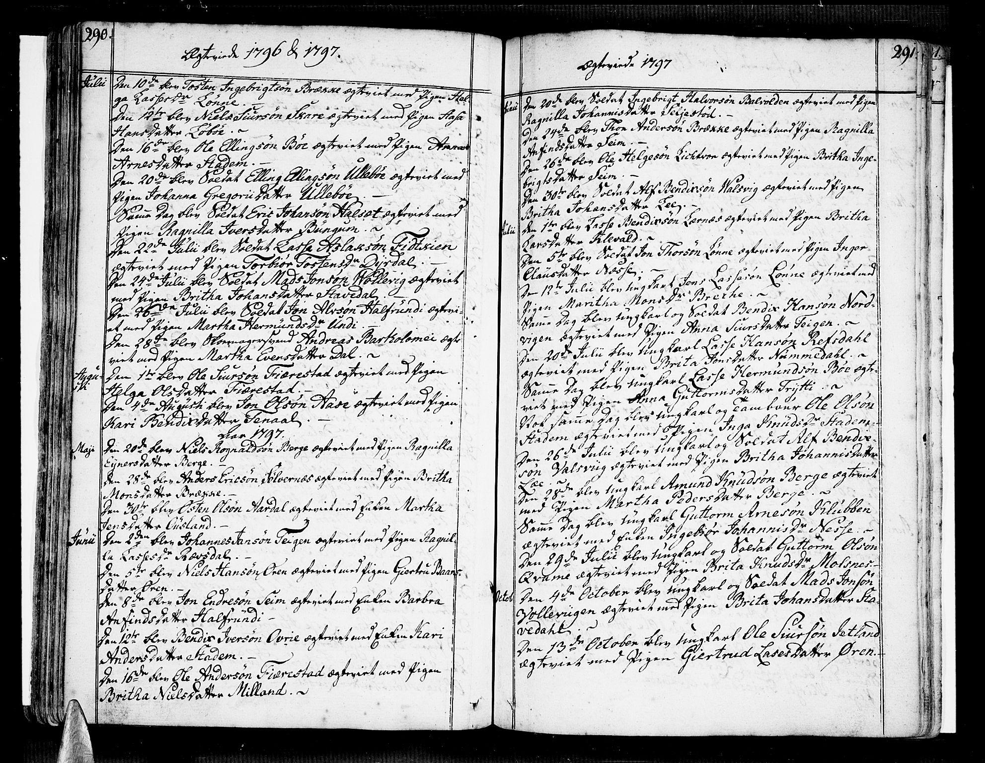 SAB, Vik Sokneprestembete, Ministerialbok nr. A 5, 1787-1820, s. 290-291