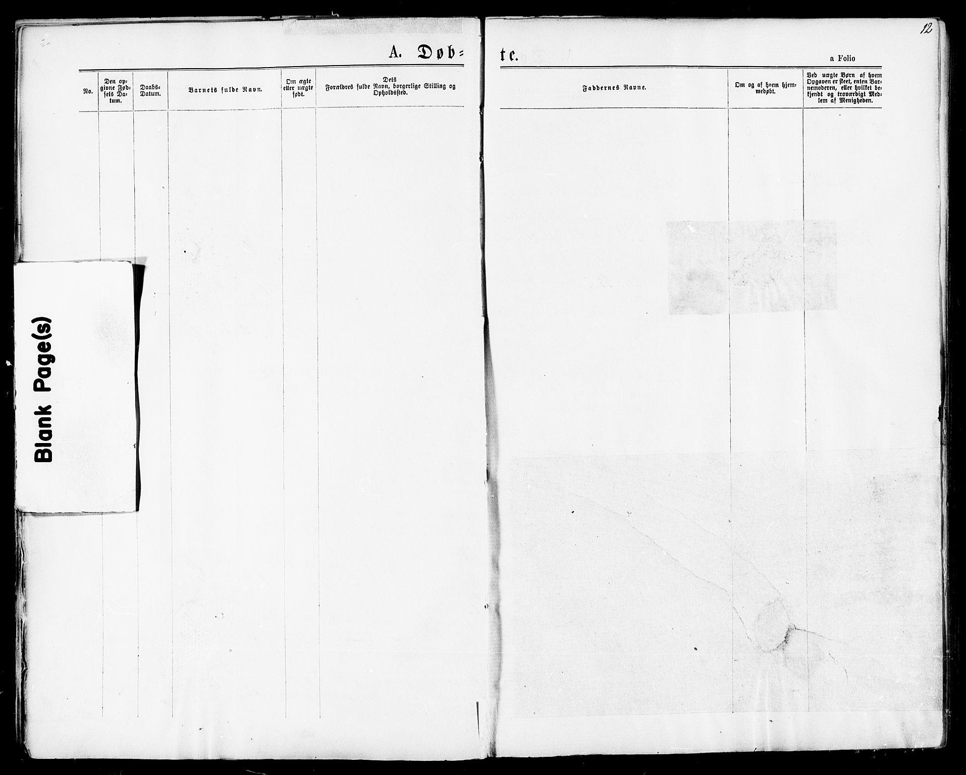 SAT, Ministerialprotokoller, klokkerbøker og fødselsregistre - Sør-Trøndelag, 678/L0900: Ministerialbok nr. 678A09, 1872-1881, s. 12