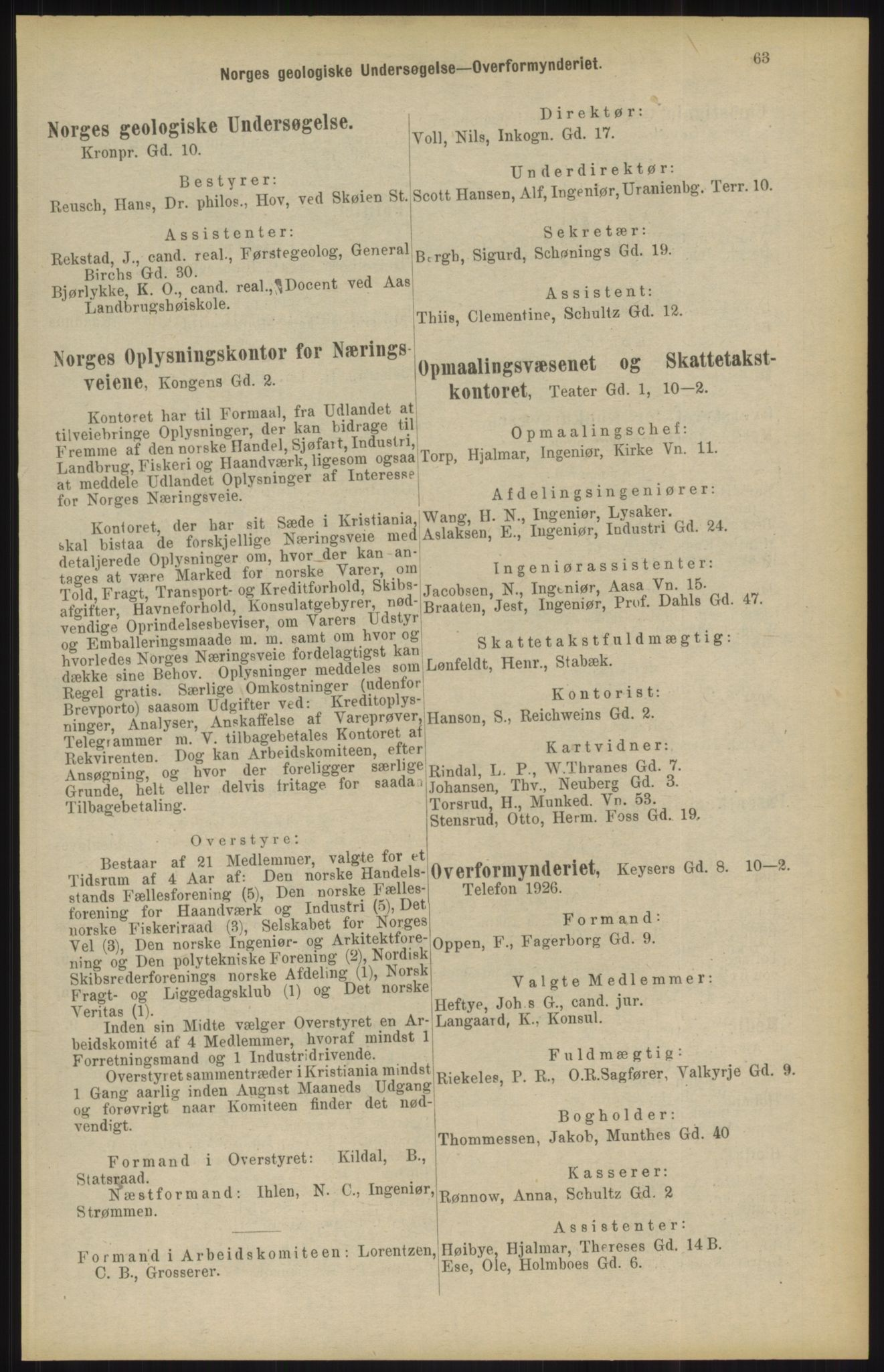 RA, Kristiania adressebok (publikasjon)*, 1904, s. 63