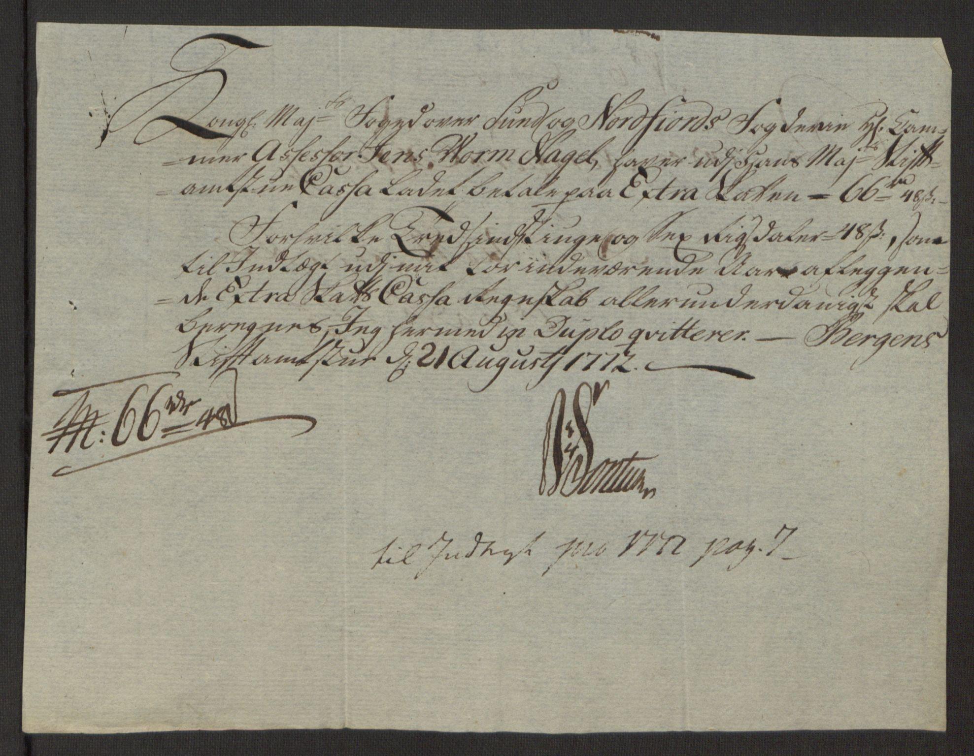 RA, Rentekammeret inntil 1814, Reviderte regnskaper, Fogderegnskap, R53/L3551: Ekstraskatten Sunn- og Nordfjord, 1772, s. 39