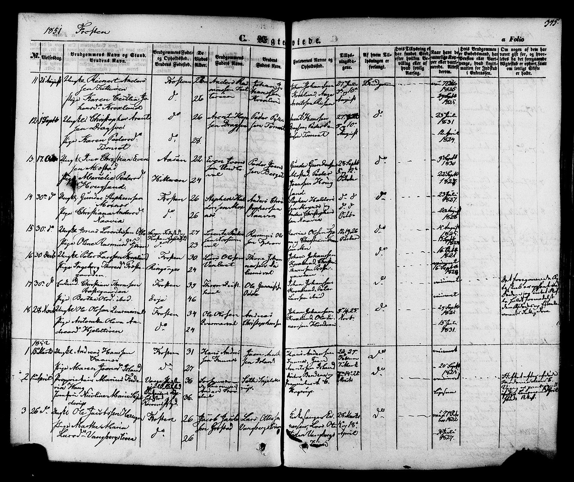 SAT, Ministerialprotokoller, klokkerbøker og fødselsregistre - Nord-Trøndelag, 713/L0116: Ministerialbok nr. 713A07 /1, 1850-1877, s. 345