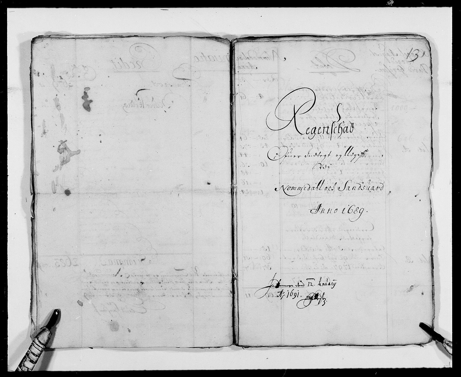 RA, Rentekammeret inntil 1814, Reviderte regnskaper, Fogderegnskap, R24/L1573: Fogderegnskap Numedal og Sandsvær, 1687-1691, s. 235