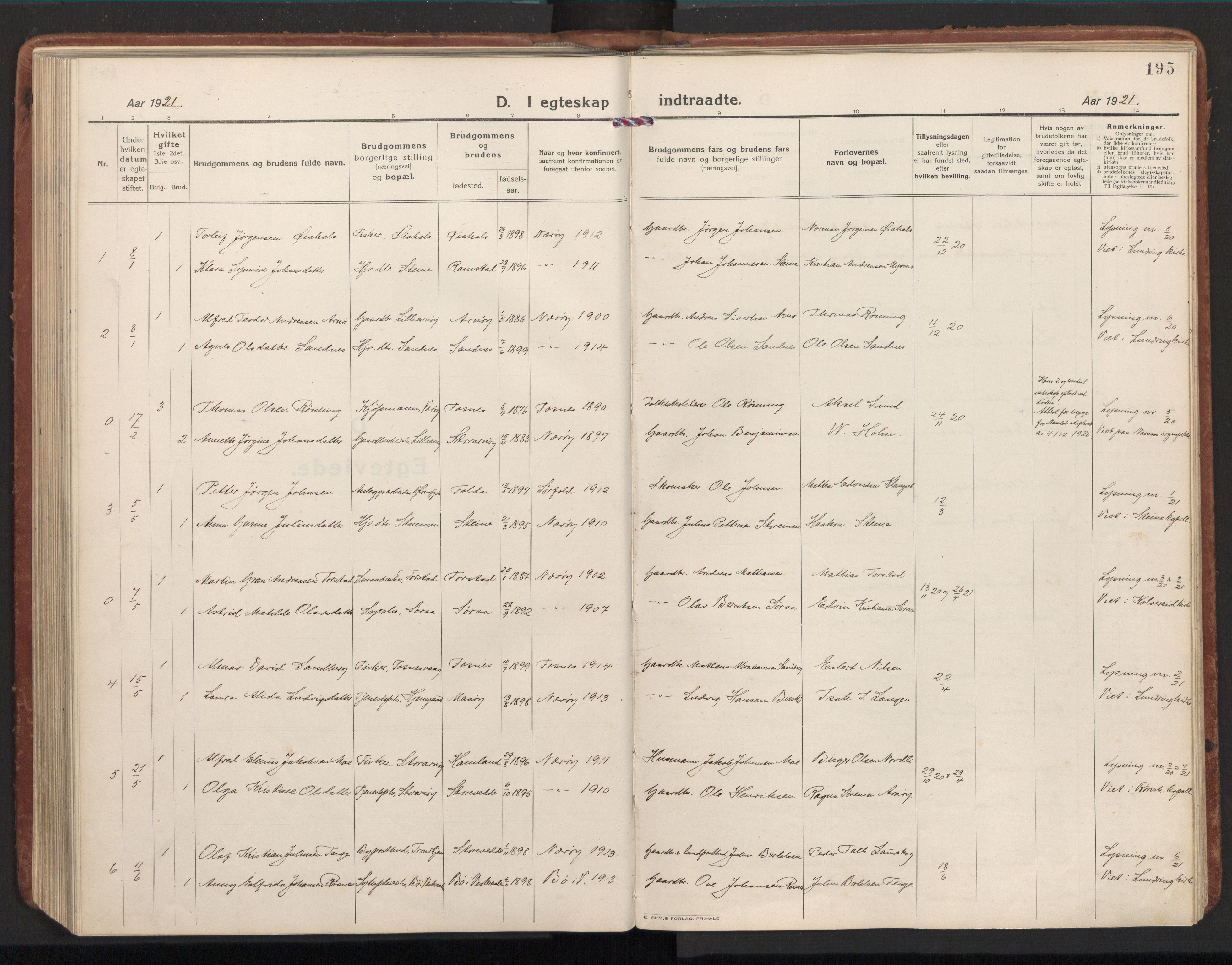 SAT, Ministerialprotokoller, klokkerbøker og fødselsregistre - Nord-Trøndelag, 784/L0678: Ministerialbok nr. 784A13, 1921-1938, s. 195