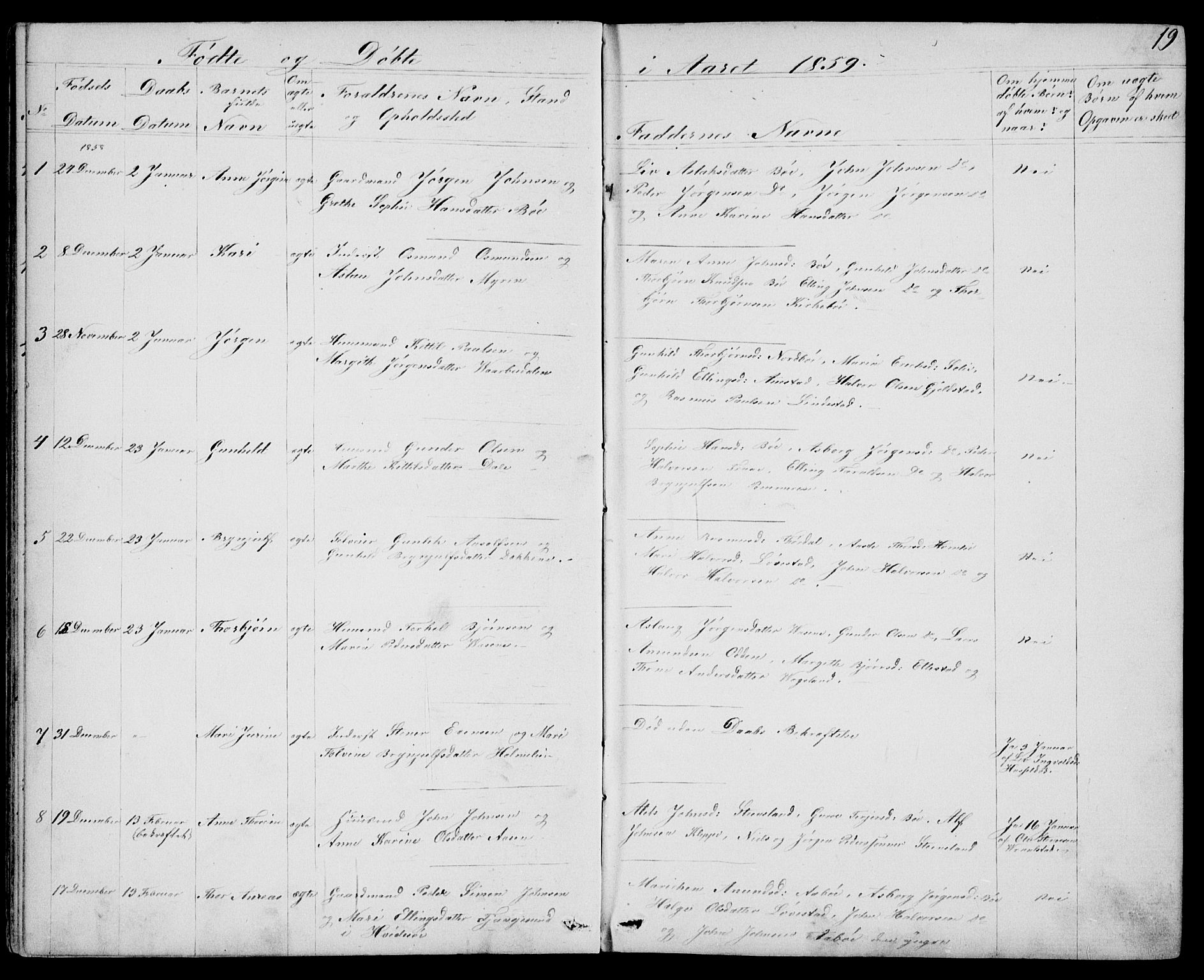 SAKO, Drangedal kirkebøker, G/Gb/L0001: Klokkerbok nr. II 1, 1856-1894, s. 19
