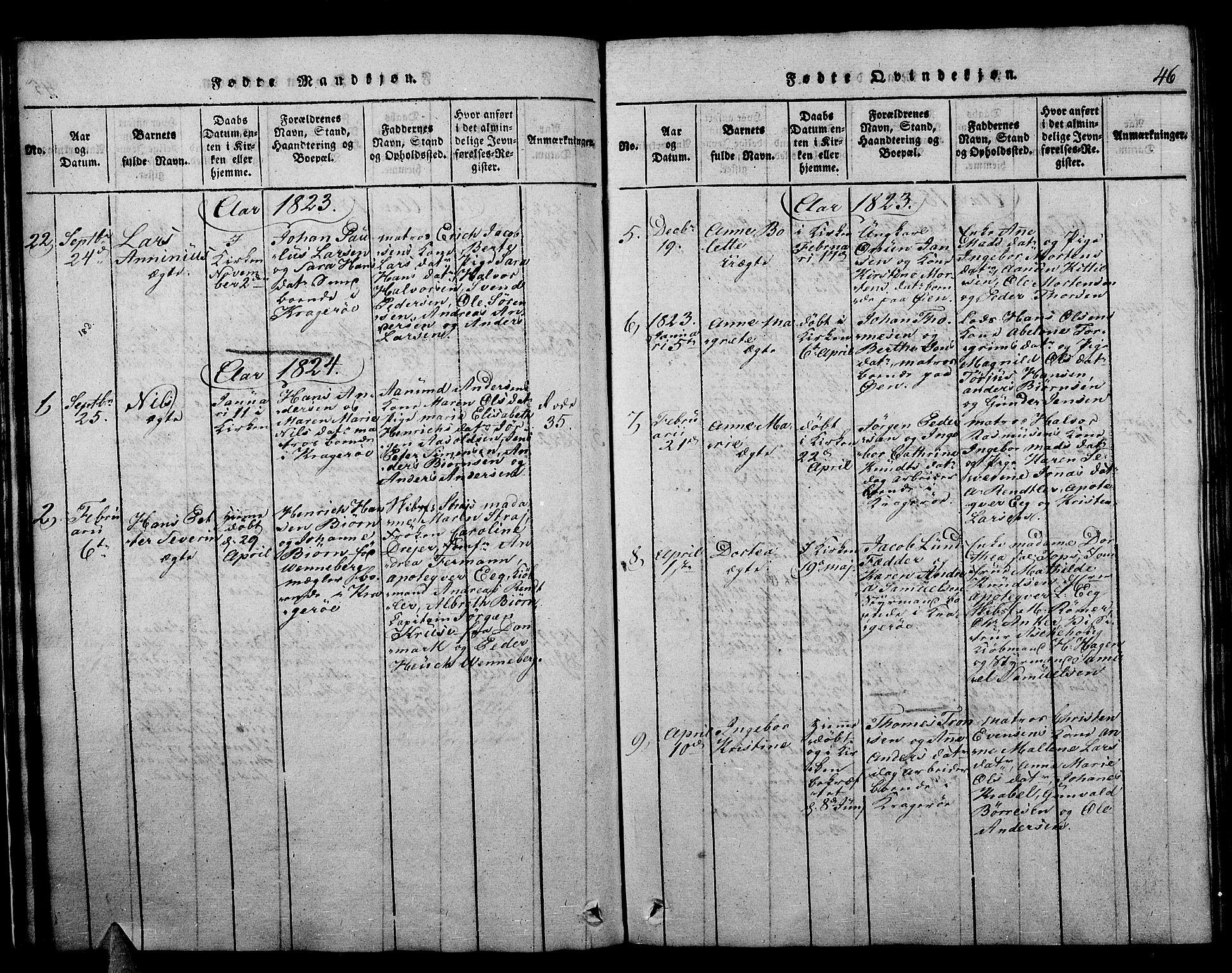 SAKO, Kragerø kirkebøker, F/Fa/L0004: Ministerialbok nr. 4, 1814-1831, s. 46