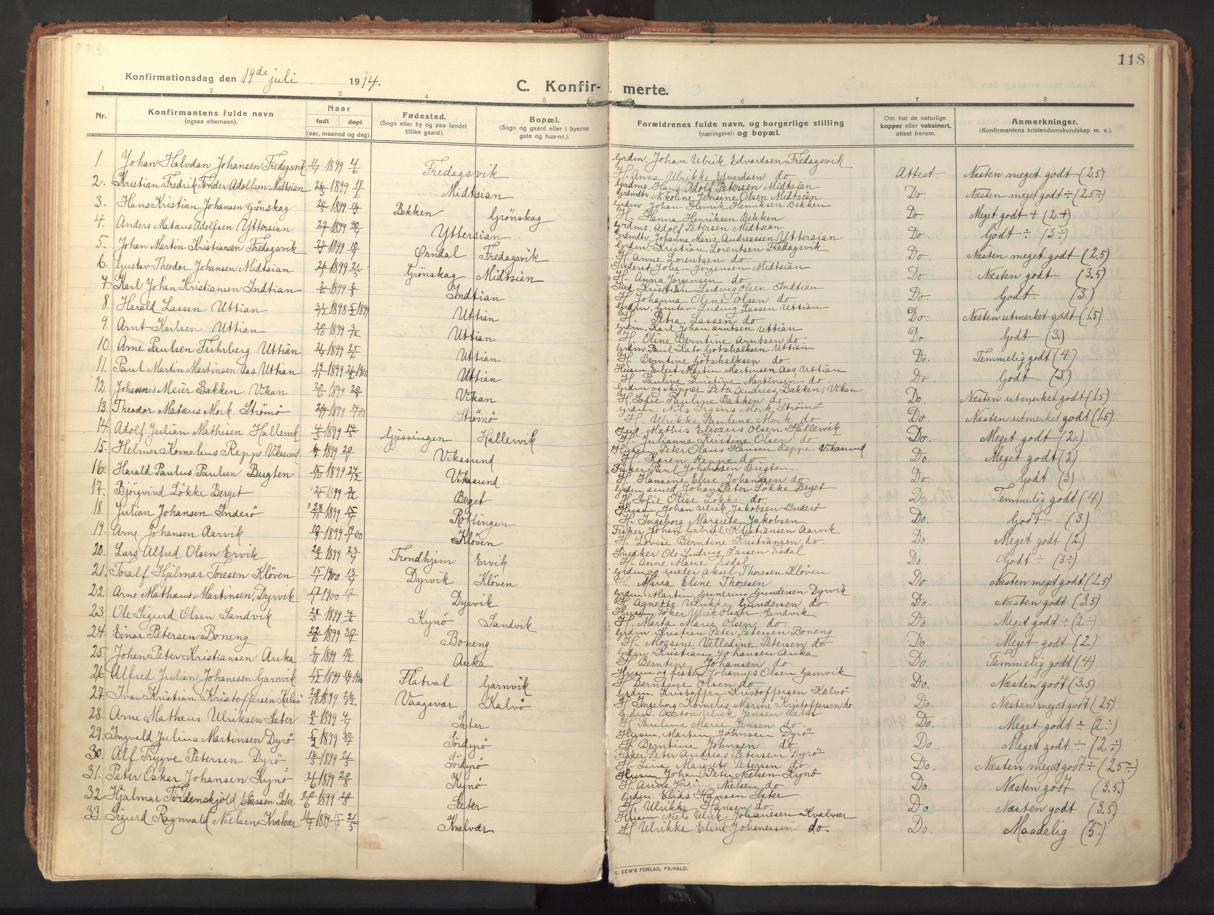 SAT, Ministerialprotokoller, klokkerbøker og fødselsregistre - Sør-Trøndelag, 640/L0581: Ministerialbok nr. 640A06, 1910-1924, s. 118