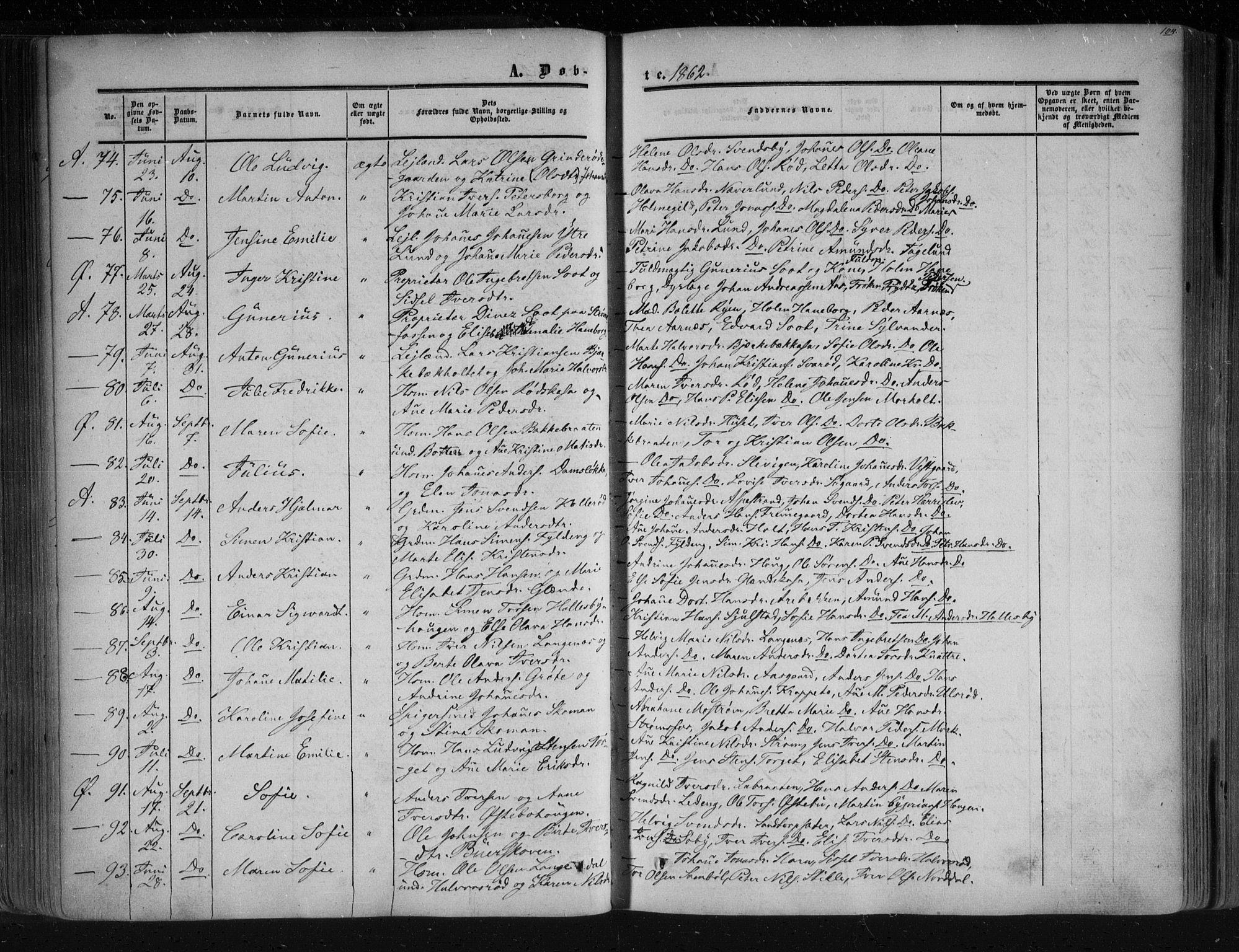 SAO, Aremark prestekontor Kirkebøker, F/Fc/L0003: Ministerialbok nr. III 3, 1850-1865, s. 104