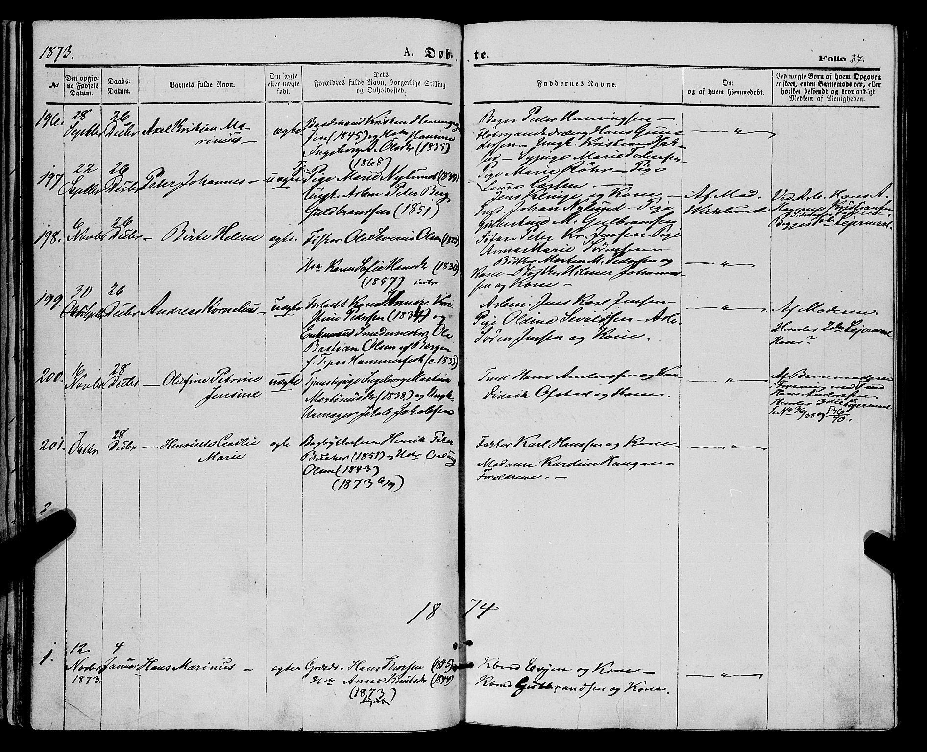 SATØ, Tromsø sokneprestkontor/stiftsprosti/domprosti, G/Ga/L0013kirke: Ministerialbok nr. 13, 1872-1877, s. 37