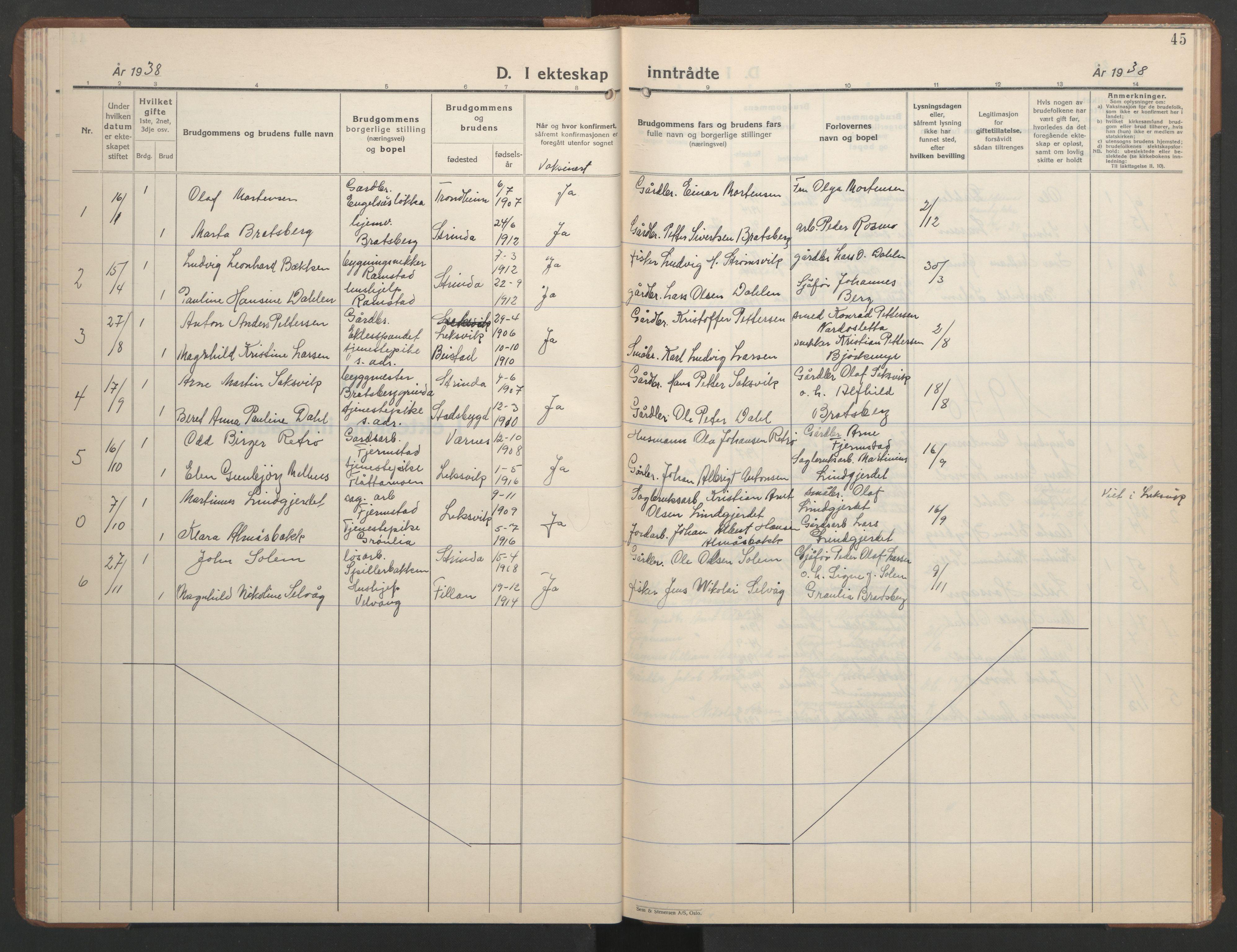 SAT, Ministerialprotokoller, klokkerbøker og fødselsregistre - Sør-Trøndelag, 608/L0343: Klokkerbok nr. 608C09, 1938-1952, s. 45
