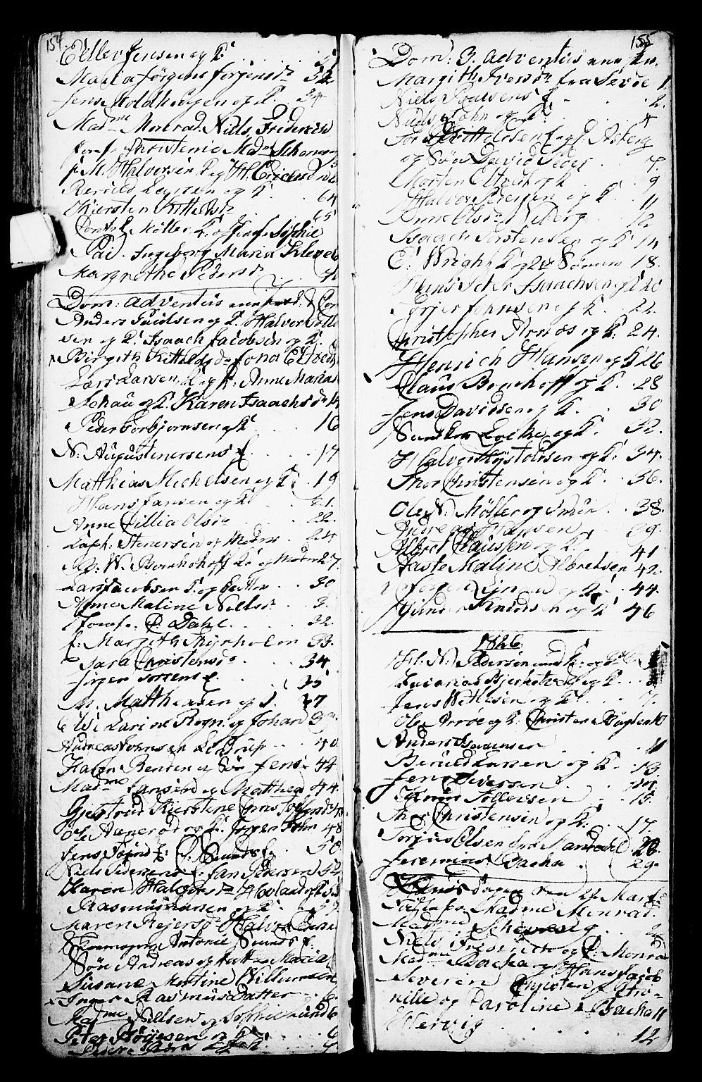 SAKO, Porsgrunn kirkebøker , G/Ga/L0001: Klokkerbok nr. I 1, 1766-1790, s. 154-155