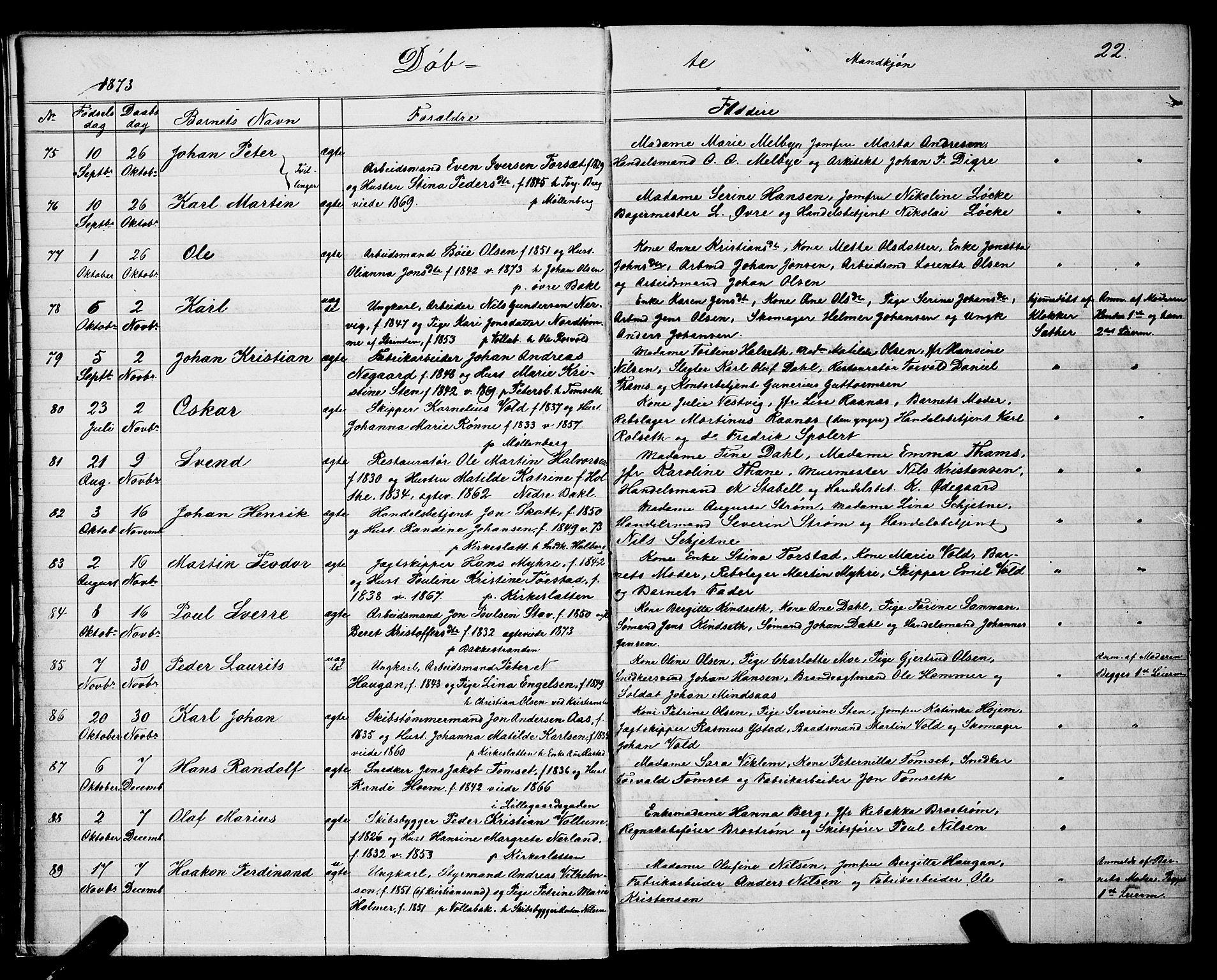SAT, Ministerialprotokoller, klokkerbøker og fødselsregistre - Sør-Trøndelag, 604/L0220: Klokkerbok nr. 604C03, 1870-1885, s. 22