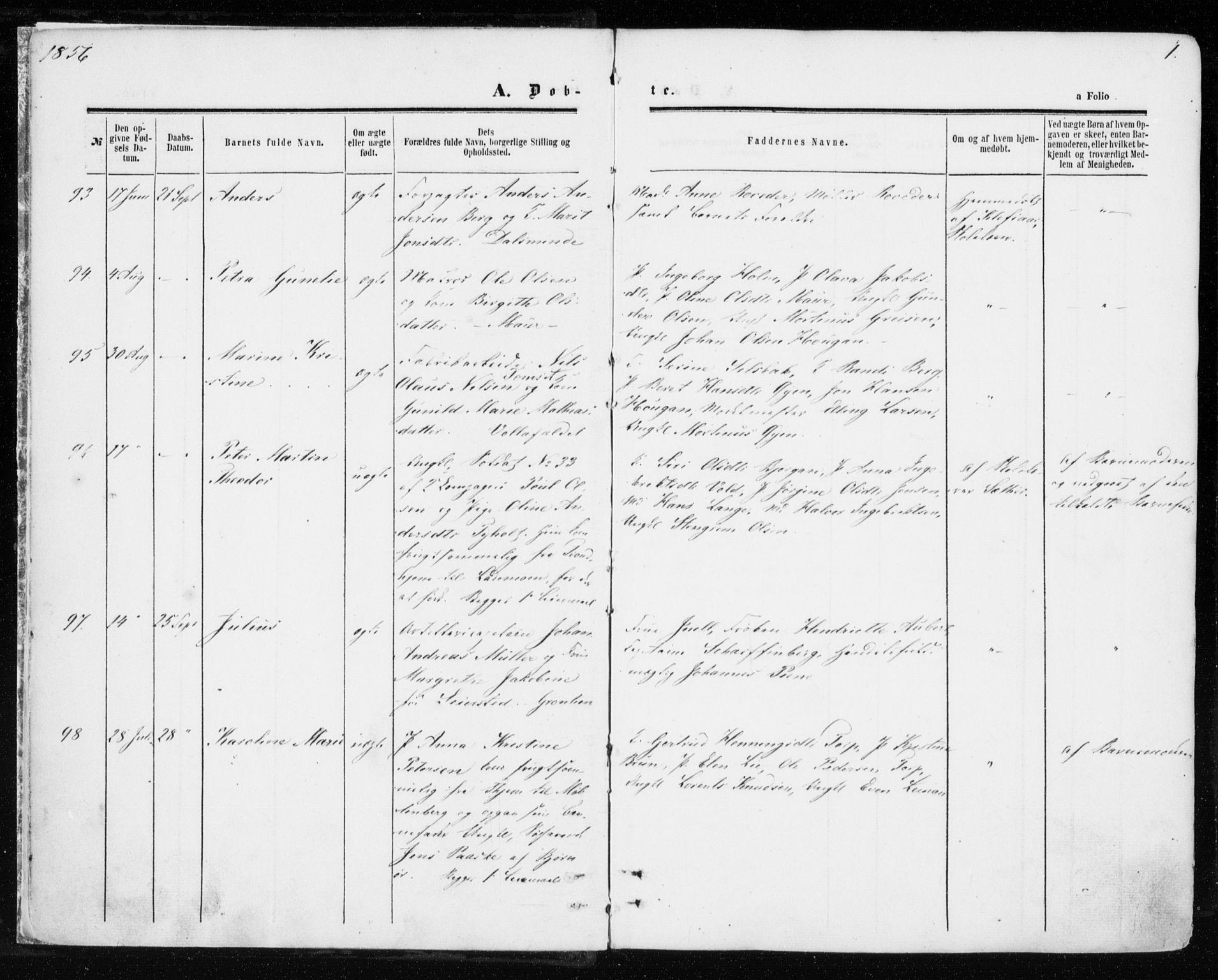 SAT, Ministerialprotokoller, klokkerbøker og fødselsregistre - Sør-Trøndelag, 606/L0292: Ministerialbok nr. 606A07, 1856-1865, s. 1