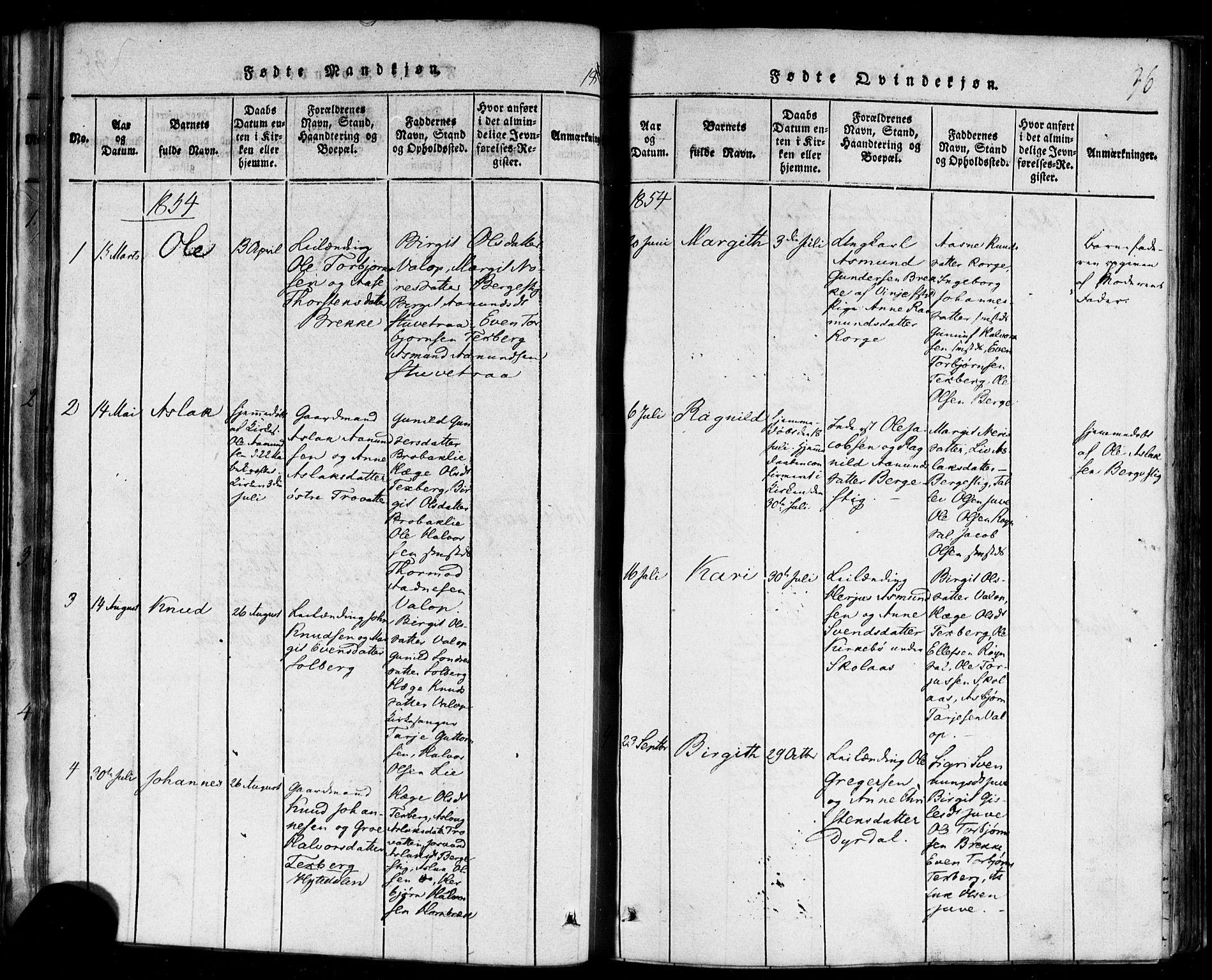 SAKO, Rauland kirkebøker, F/Fa/L0002: Ministerialbok nr. 2, 1815-1860, s. 36
