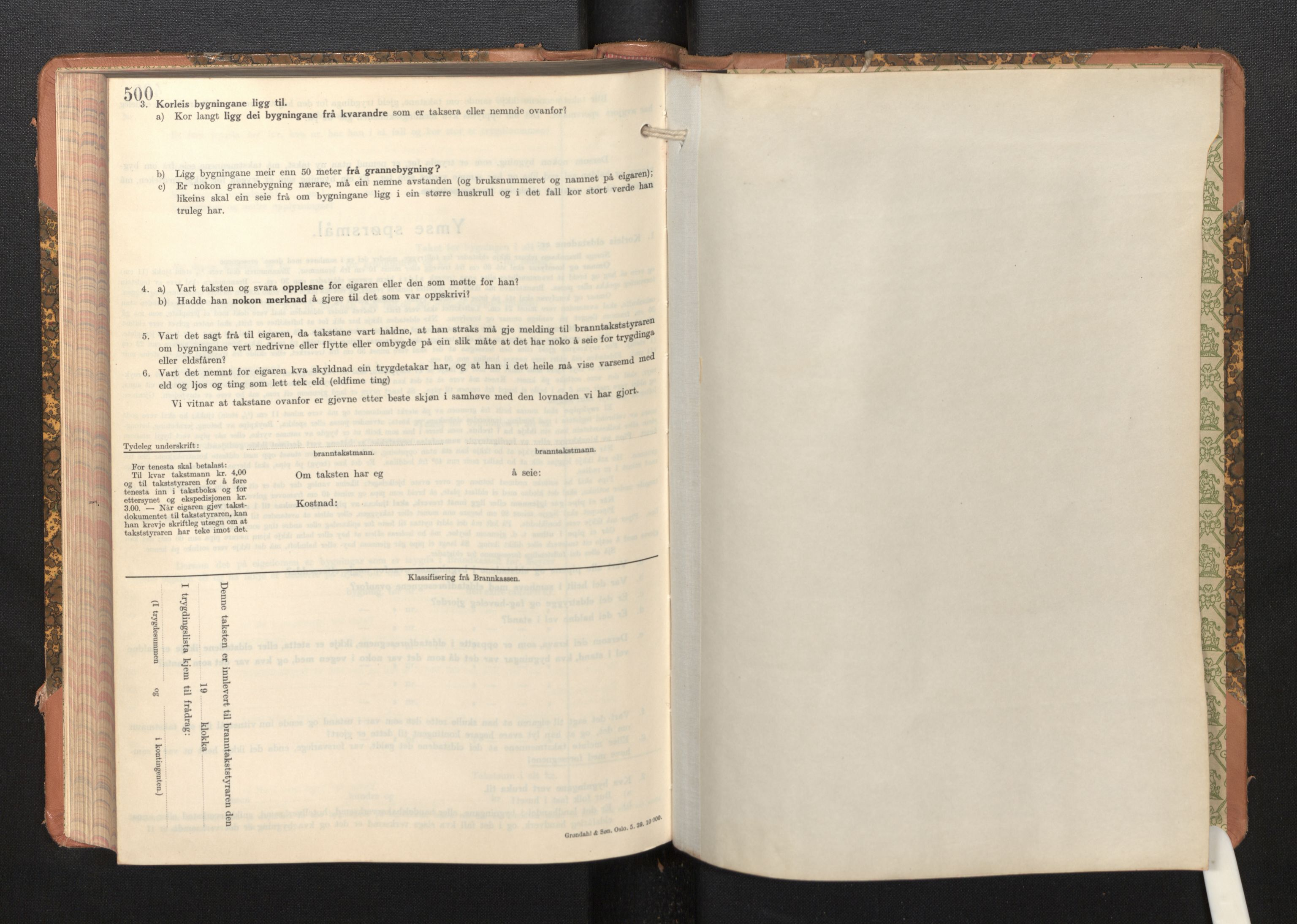 SAB, Lensmannen i Bremanger, 0012/L0009: Branntakstprotokoll, skjematakst, 1943-1950, s. 500