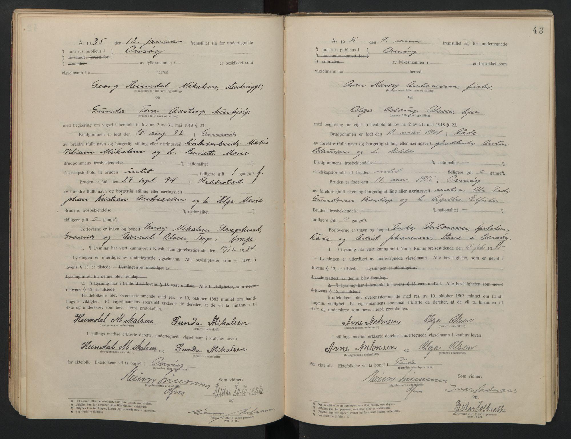 SAO, Onsøy sorenskriveri, L/La/L0001: Vigselsbok, 1920-1942, s. 43