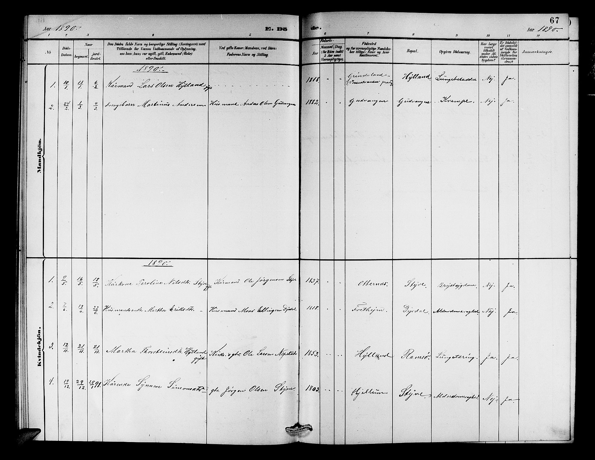 SAB, Aurland Sokneprestembete*, Klokkerbok nr. C 2, 1883-1900, s. 67