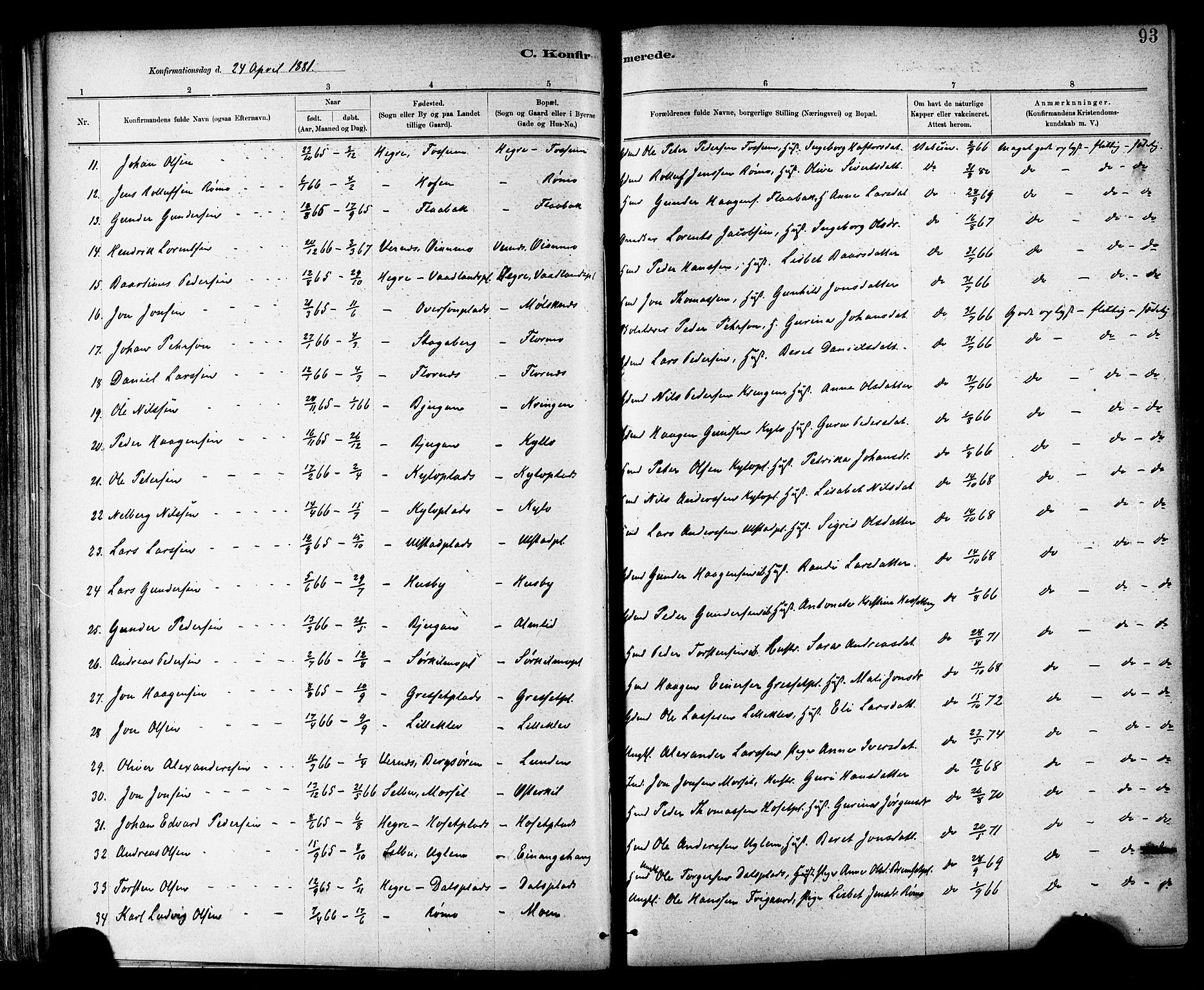 SAT, Ministerialprotokoller, klokkerbøker og fødselsregistre - Nord-Trøndelag, 703/L0030: Ministerialbok nr. 703A03, 1880-1892, s. 93