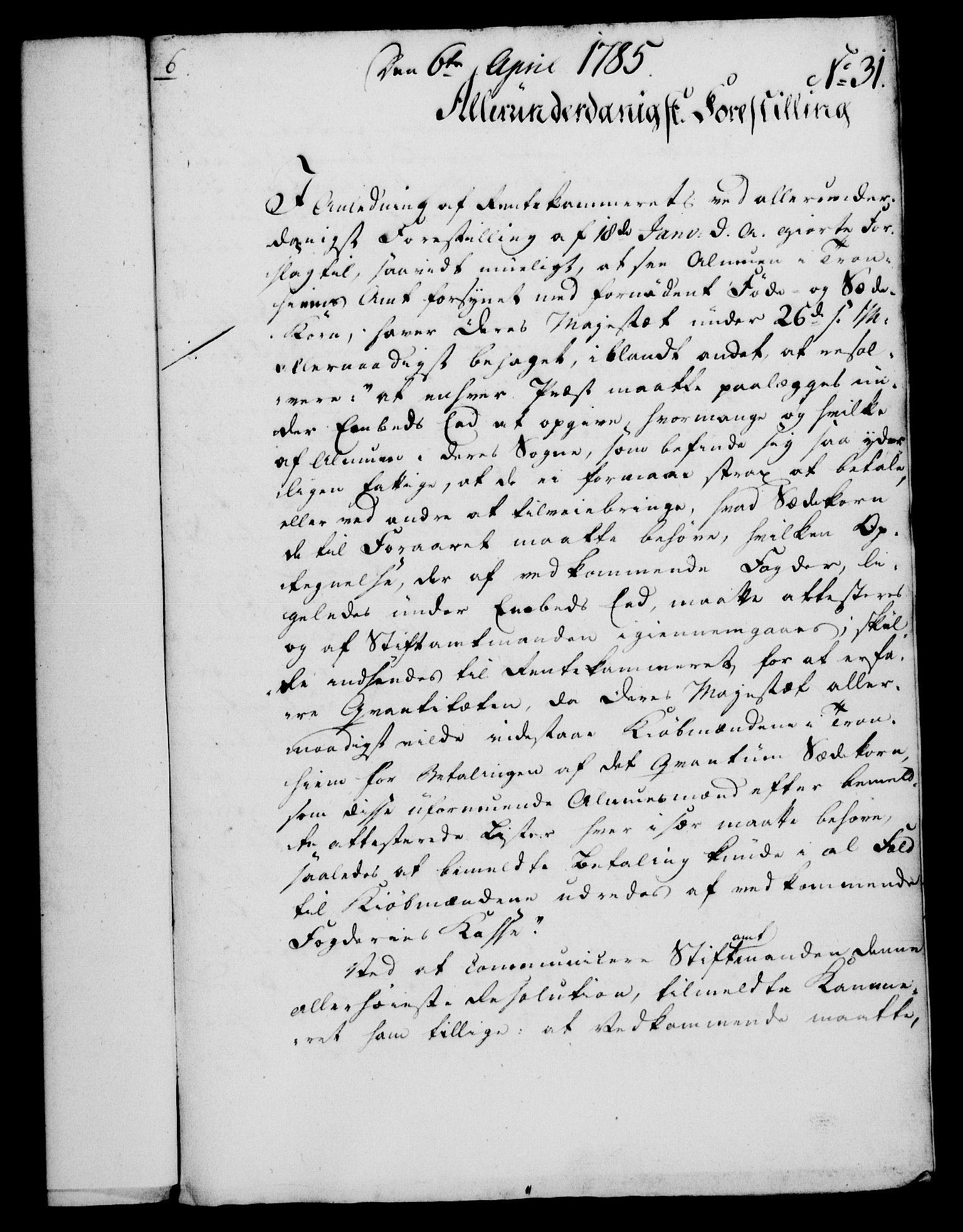 RA, Rentekammeret, Kammerkanselliet, G/Gf/Gfa/L0067: Norsk relasjons- og resolusjonsprotokoll (merket RK 52.67), 1785, s. 254