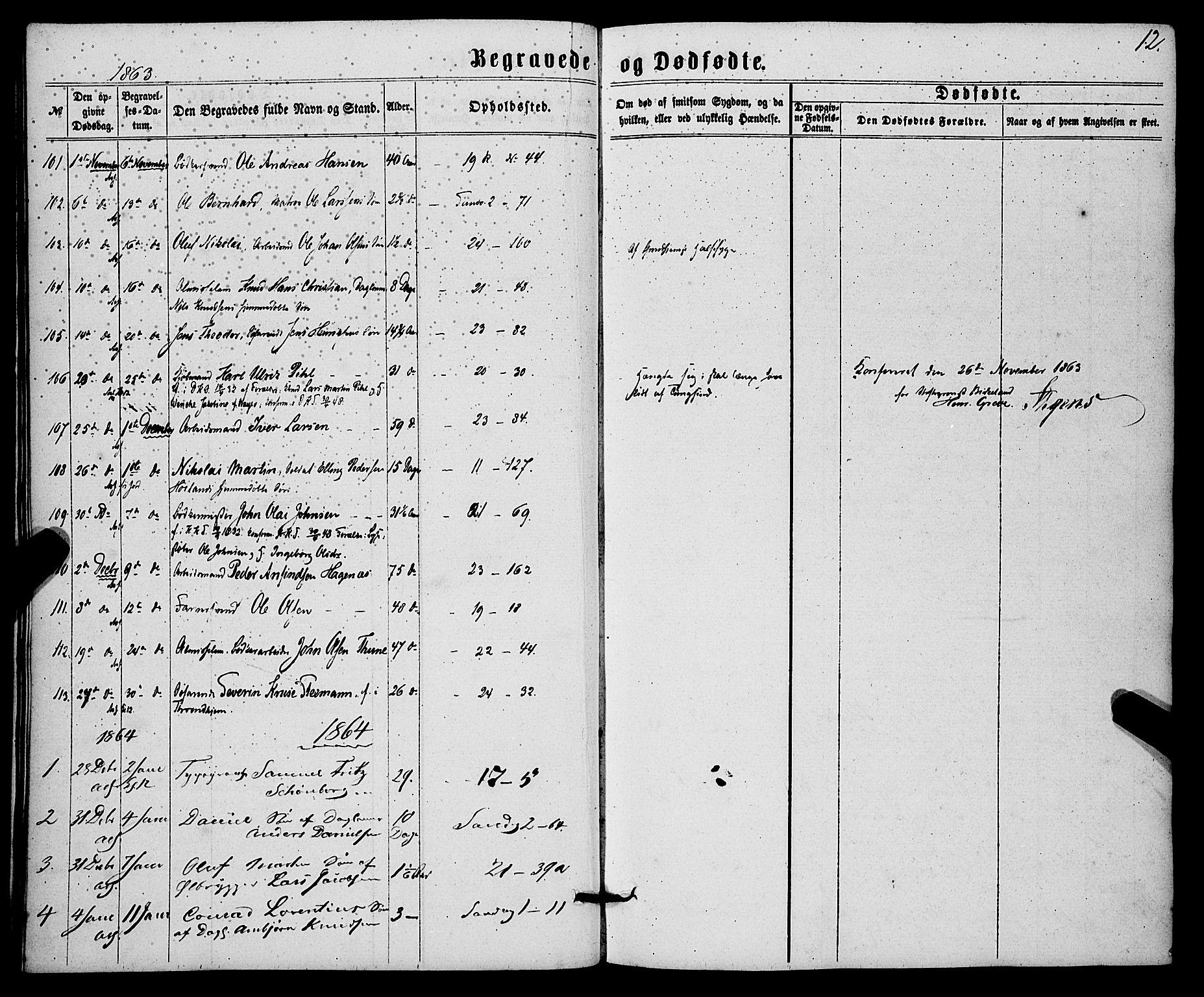 SAB, Korskirken Sokneprestembete, H/Haa/L0045: Ministerialbok nr. E 3, 1863-1875, s. 12