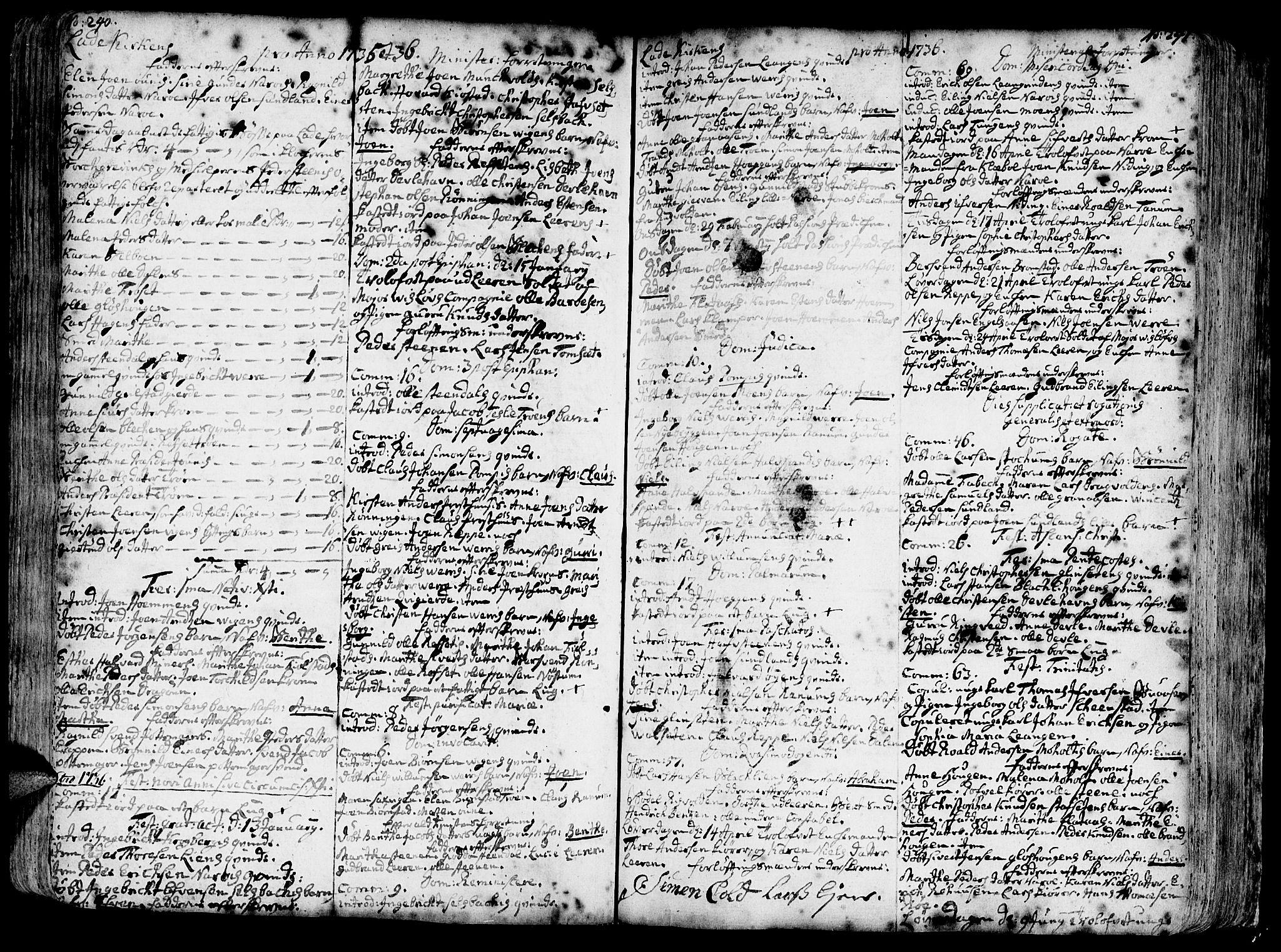 SAT, Ministerialprotokoller, klokkerbøker og fødselsregistre - Sør-Trøndelag, 606/L0275: Ministerialbok nr. 606A01 /1, 1727-1780, s. 240-241