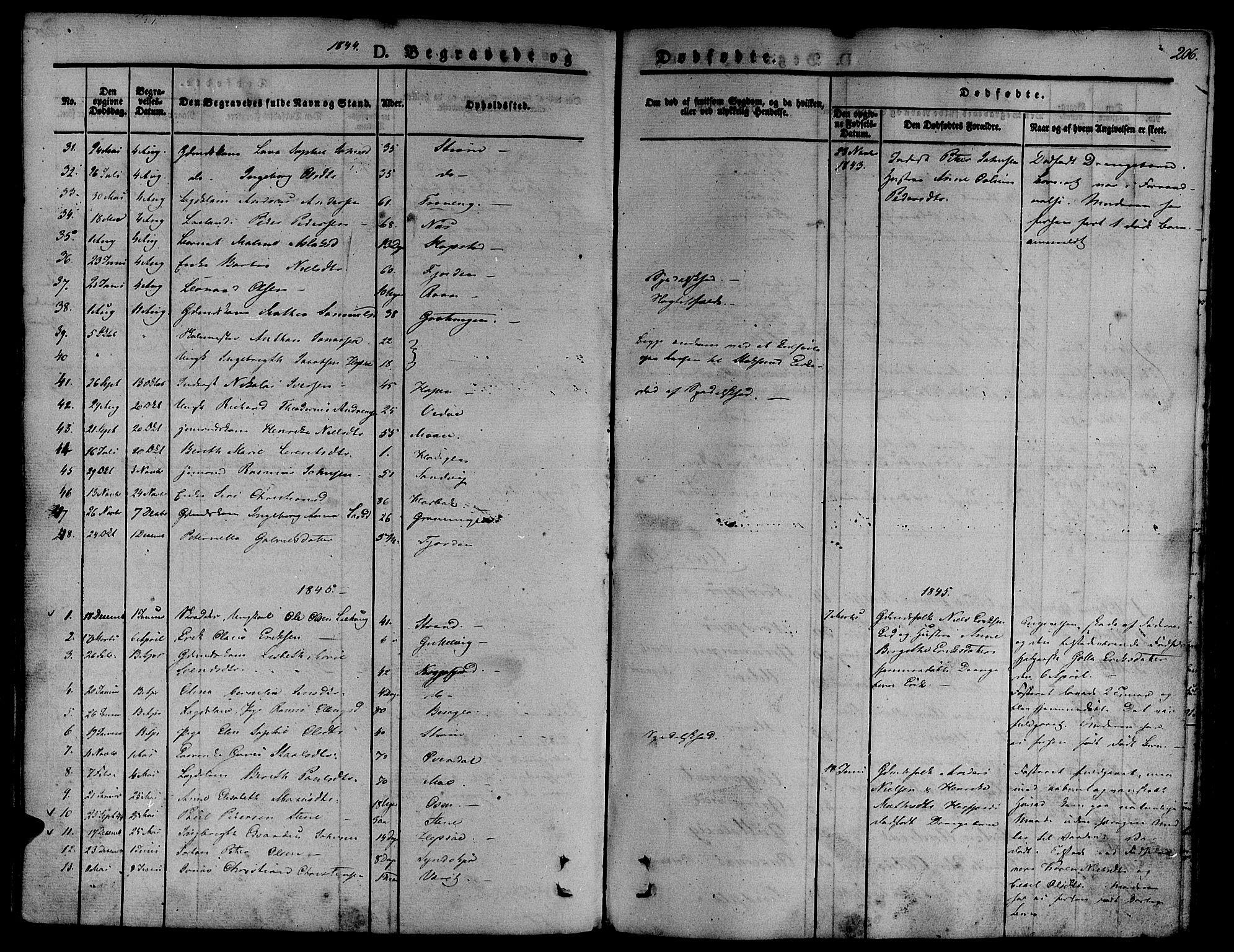 SAT, Ministerialprotokoller, klokkerbøker og fødselsregistre - Sør-Trøndelag, 657/L0703: Ministerialbok nr. 657A04, 1831-1846, s. 206
