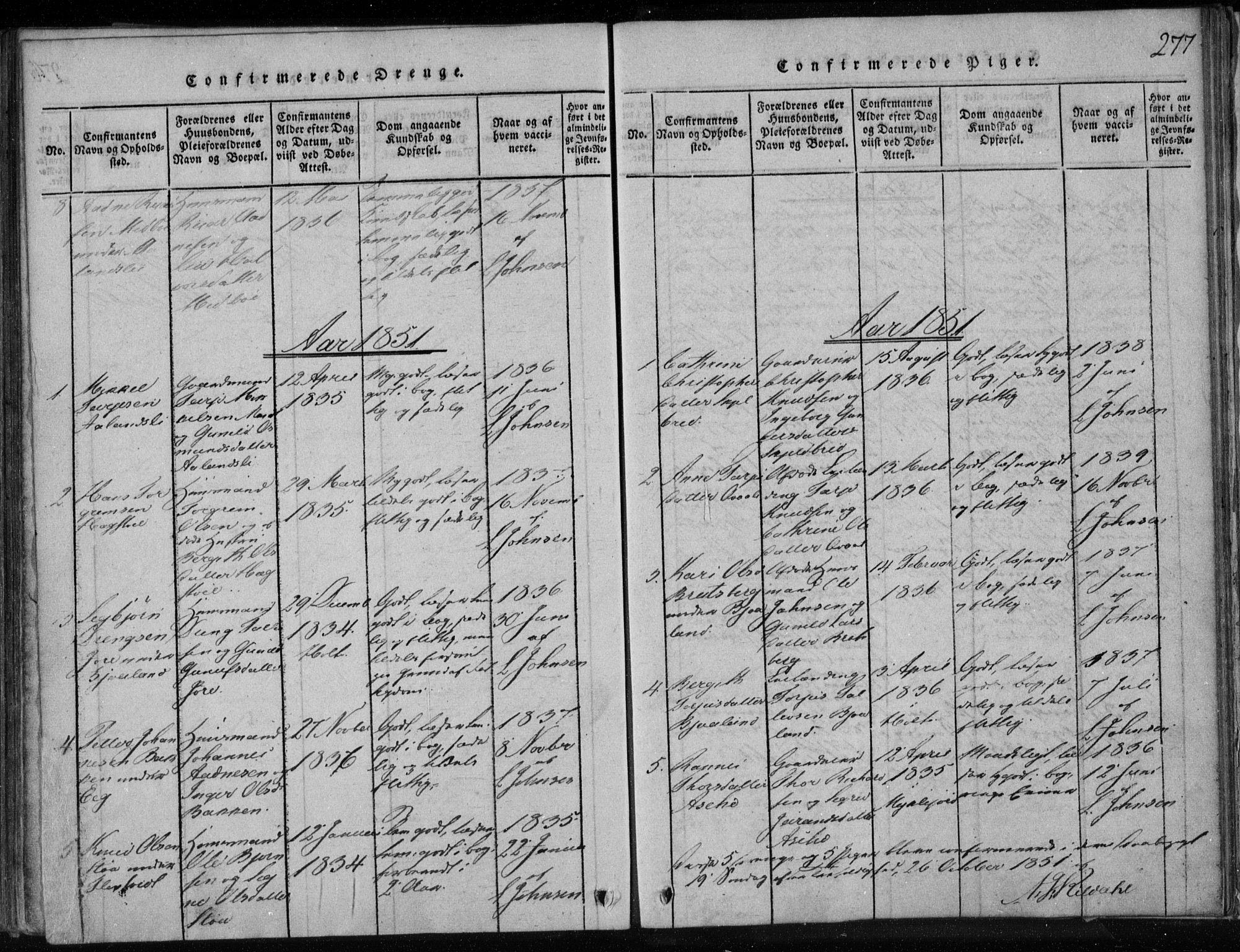 SAKO, Lårdal kirkebøker, F/Fa/L0005: Ministerialbok nr. I 5, 1815-1860, s. 277