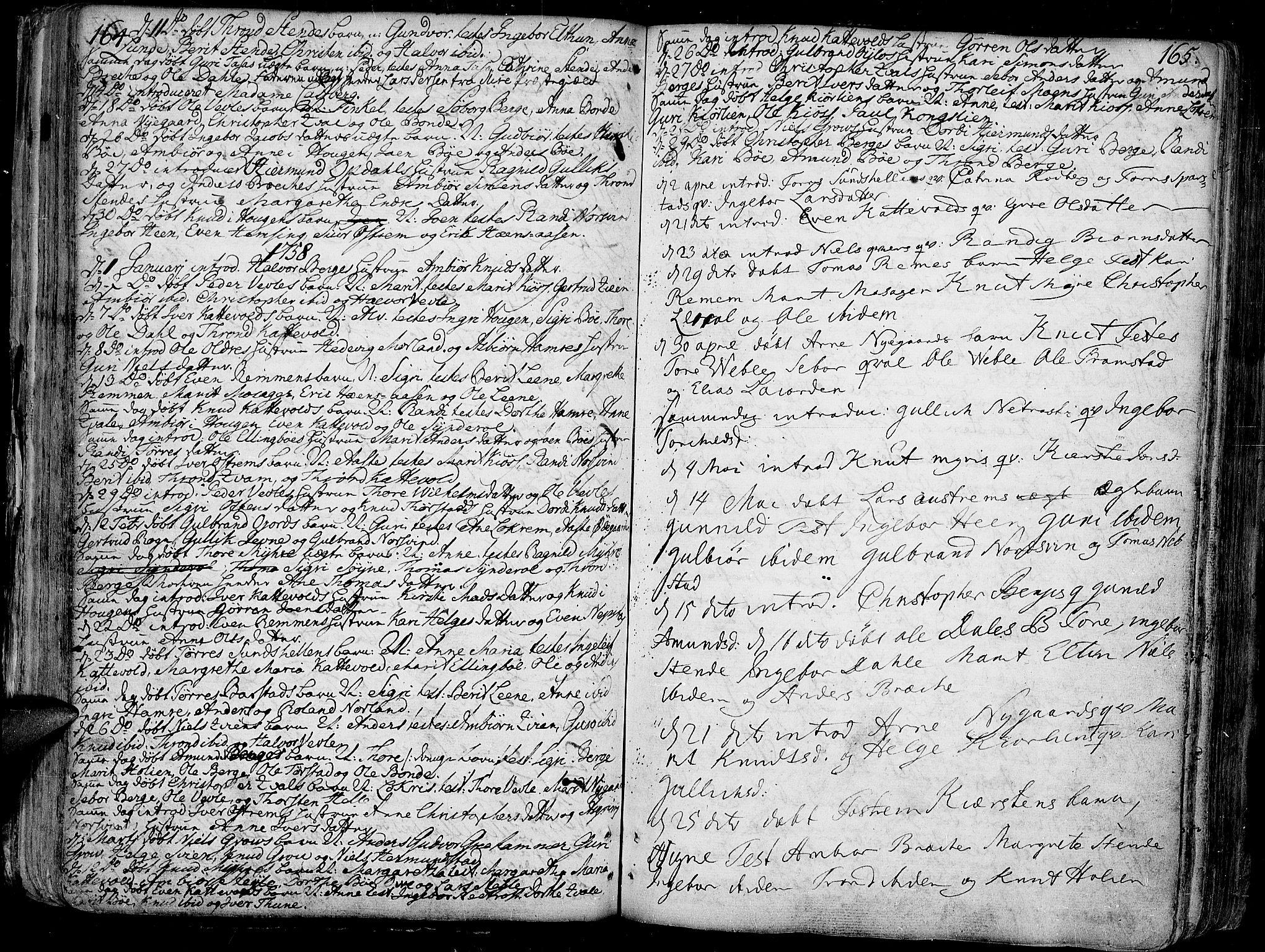 SAH, Vang prestekontor, Valdres, Ministerialbok nr. 1, 1730-1796, s. 164-165