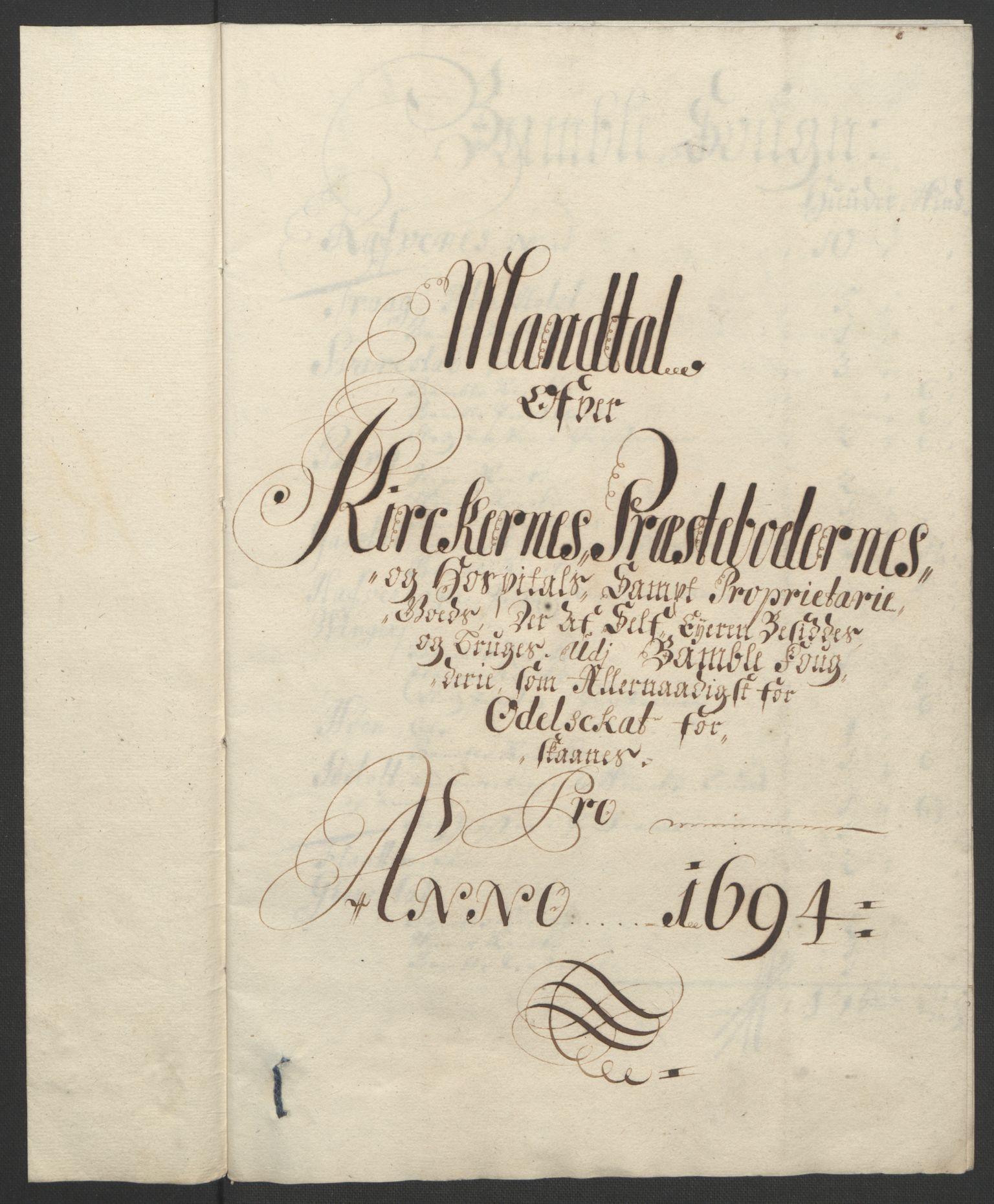 RA, Rentekammeret inntil 1814, Reviderte regnskaper, Fogderegnskap, R36/L2092: Fogderegnskap Øvre og Nedre Telemark og Bamble, 1694, s. 247