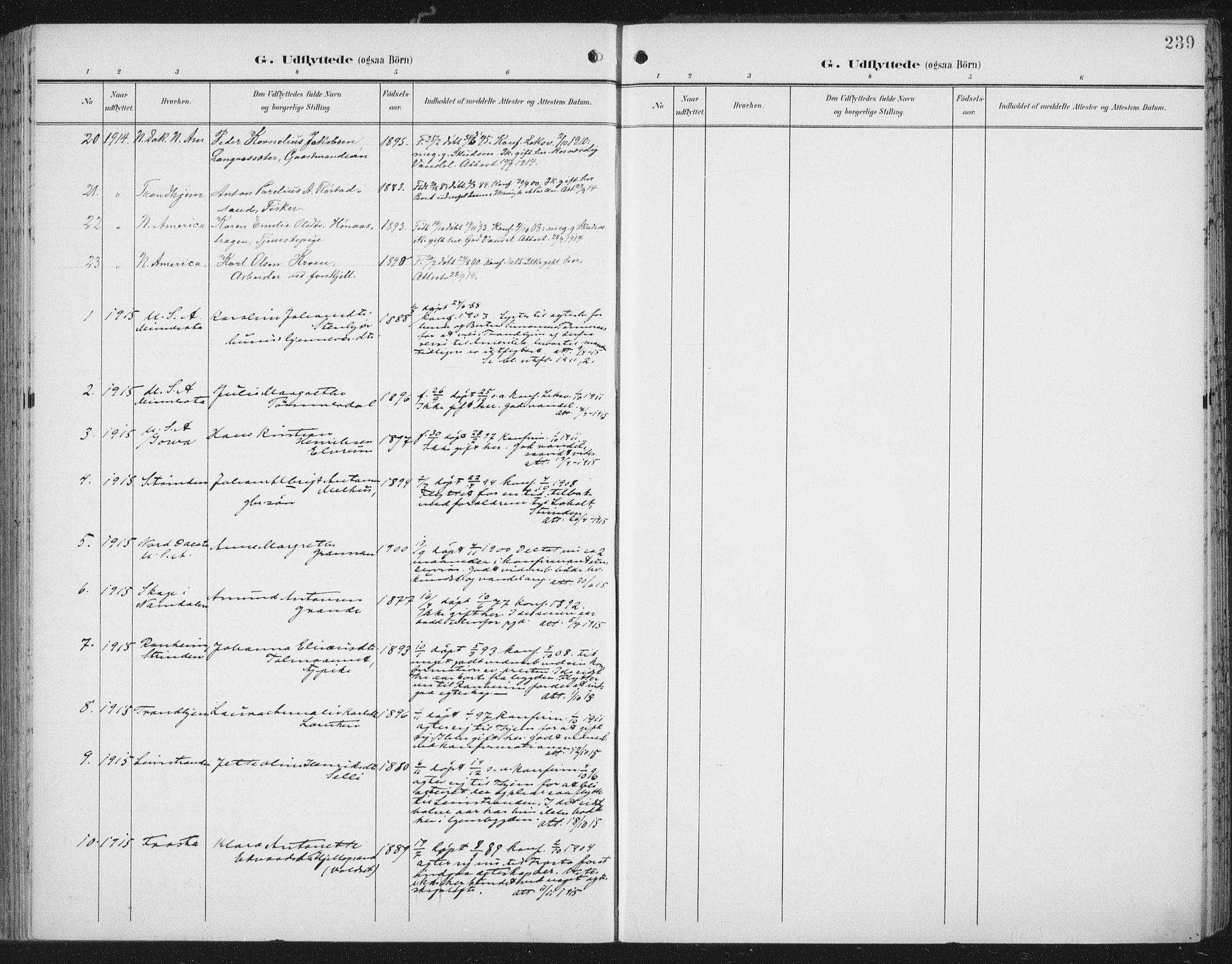 SAT, Ministerialprotokoller, klokkerbøker og fødselsregistre - Nord-Trøndelag, 701/L0011: Ministerialbok nr. 701A11, 1899-1915, s. 239