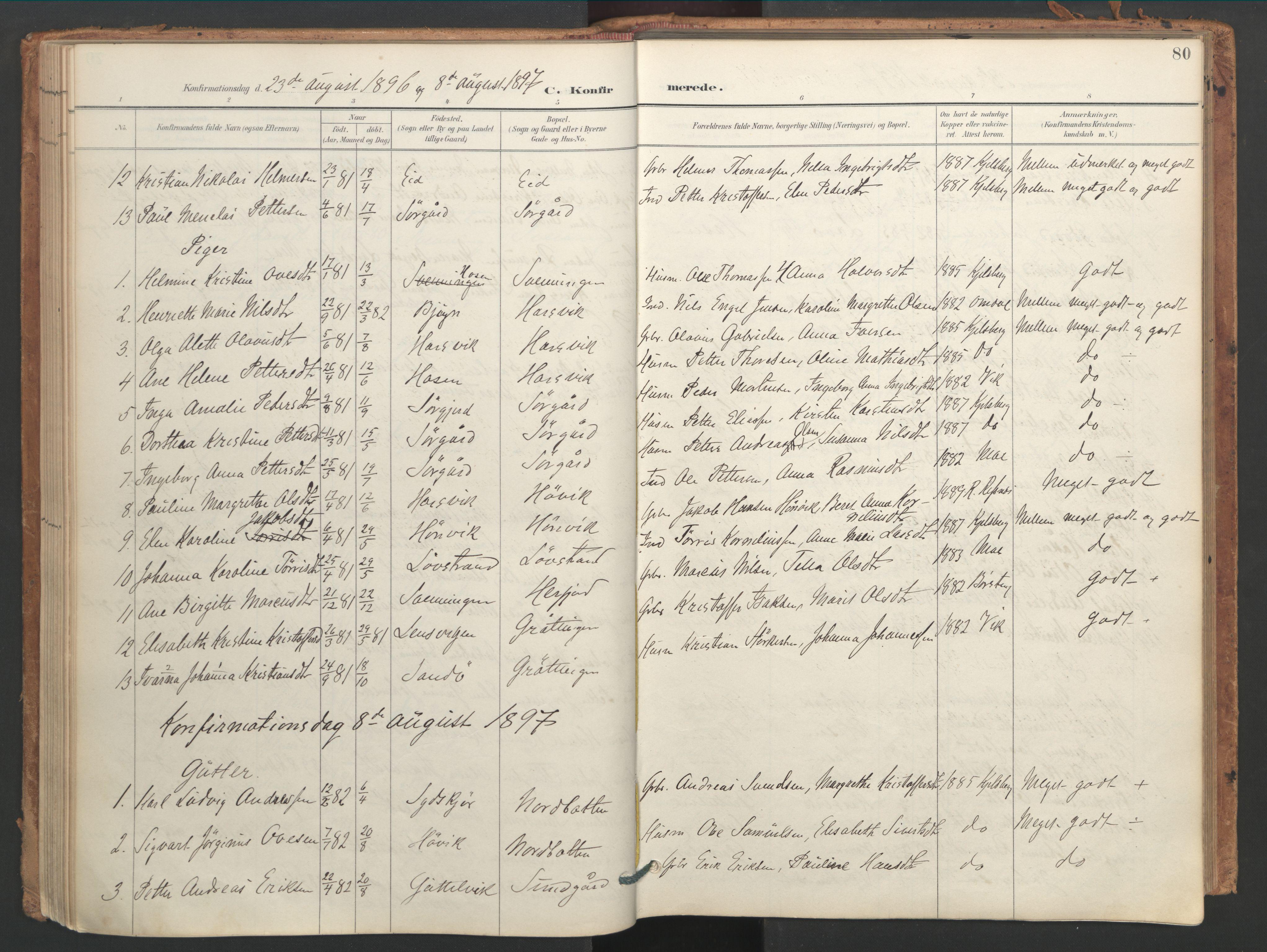 SAT, Ministerialprotokoller, klokkerbøker og fødselsregistre - Sør-Trøndelag, 656/L0693: Ministerialbok nr. 656A02, 1894-1913, s. 80
