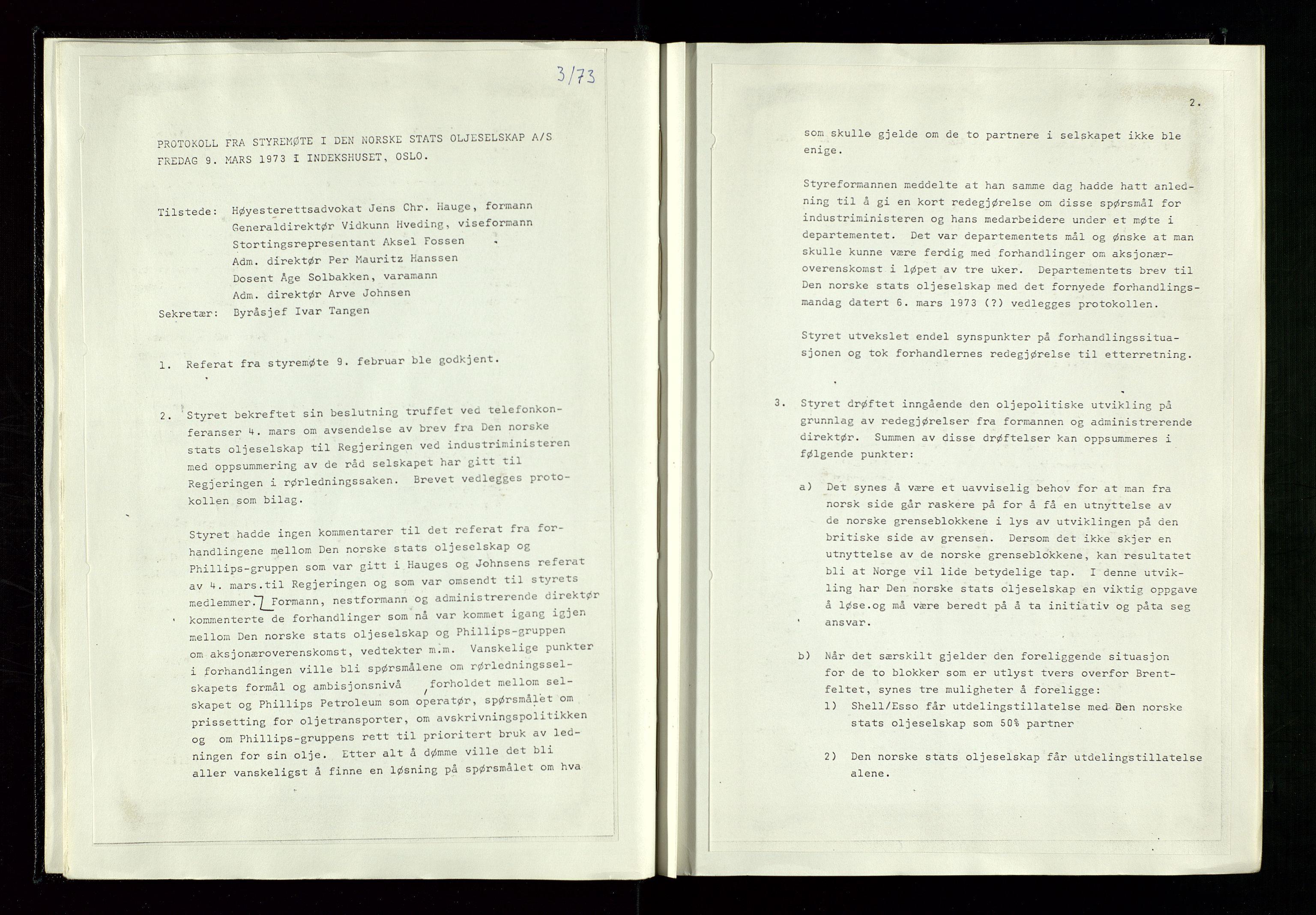 SAST, Pa 1339 - Statoil ASA, A/Ab/Aba/L0001: Styremøteprotokoller, 05.10.1972 til 14.12.1978, 1972-1978, s. 20