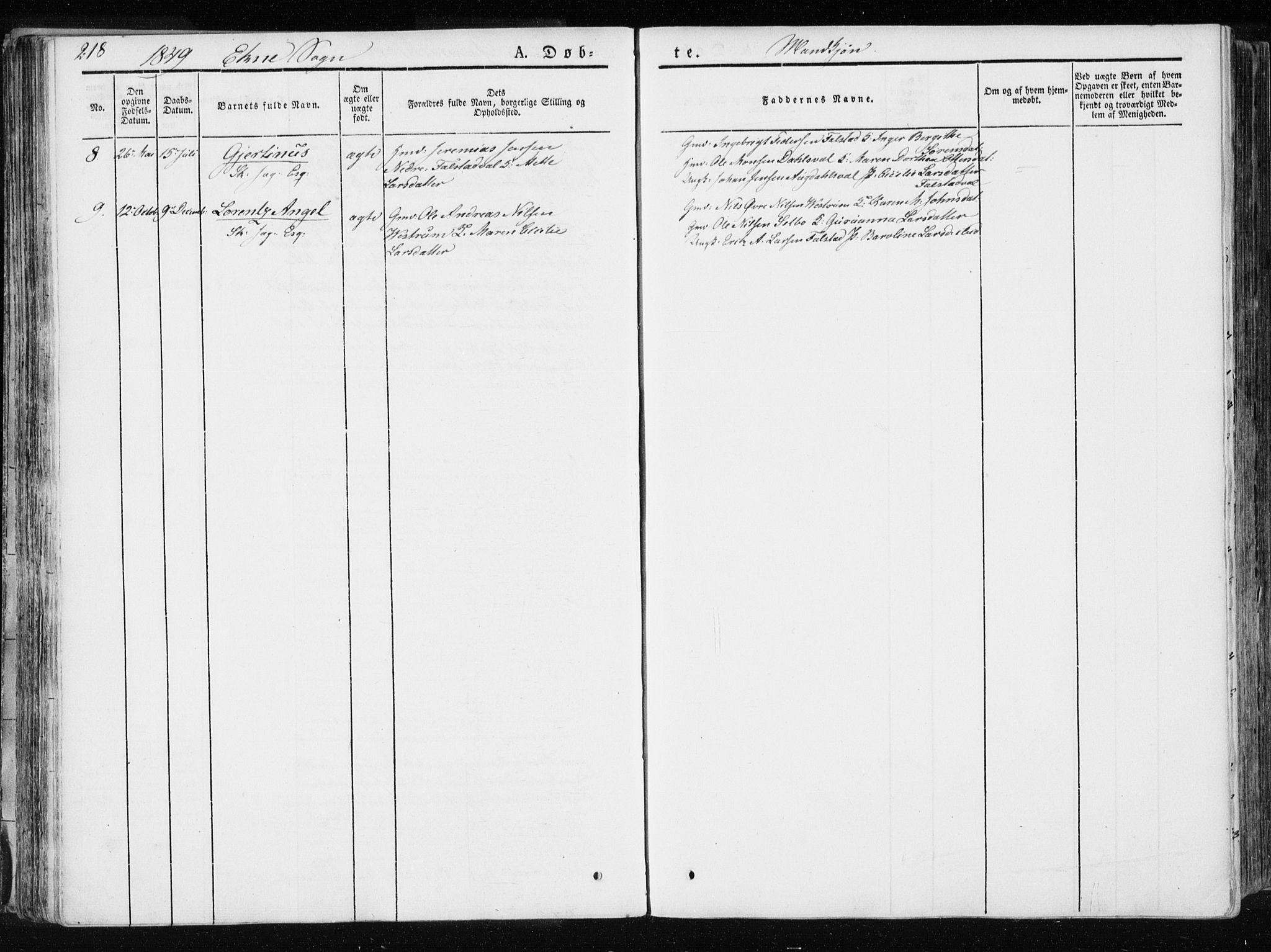 SAT, Ministerialprotokoller, klokkerbøker og fødselsregistre - Nord-Trøndelag, 717/L0154: Ministerialbok nr. 717A06 /2, 1836-1849, s. 218