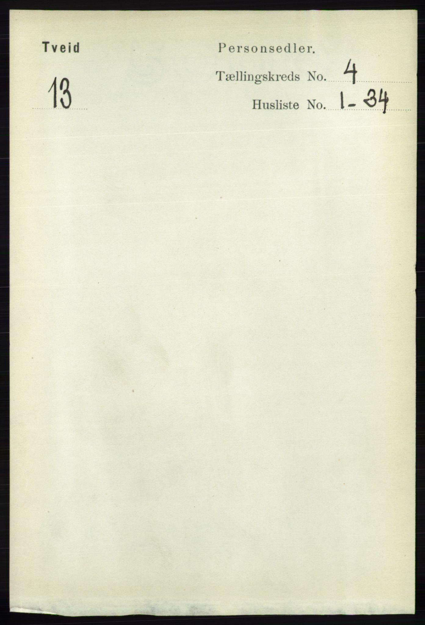 RA, Folketelling 1891 for 1013 Tveit herred, 1891, s. 1805